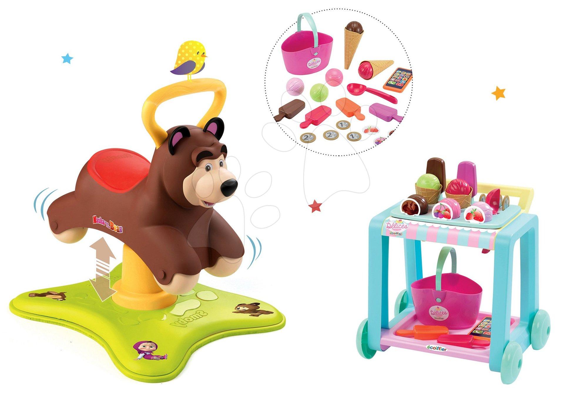 Set odrážadlo Medveď 2v1 Smoby skákajúci a točiaci sa a vozík so zmrzlinou Délices od 12 mes