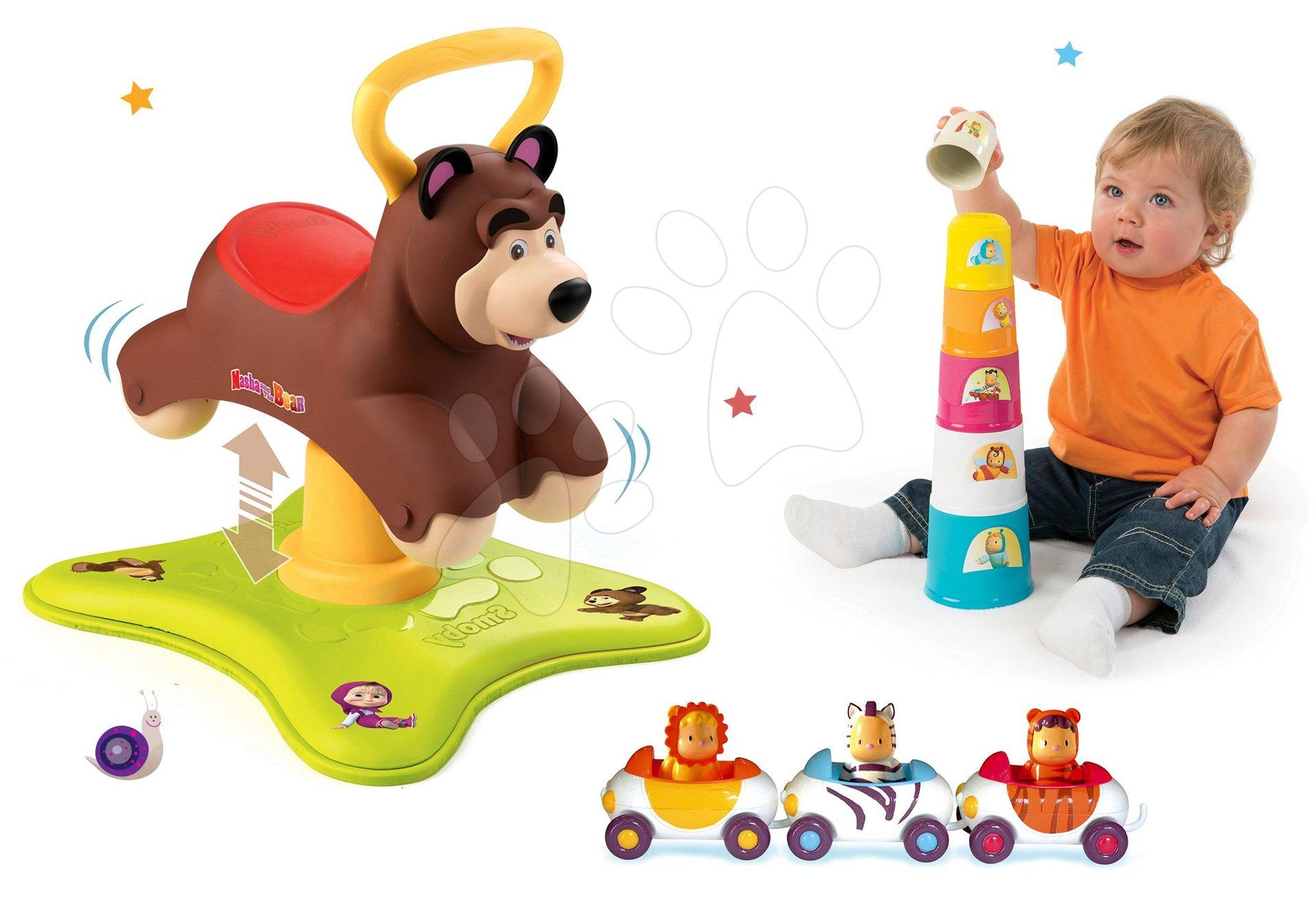 Set odrážedlo Medvěd 2v1 Smoby skákající a točící a 3 autíčka Imagin Car Cotoons od 12 měsíců