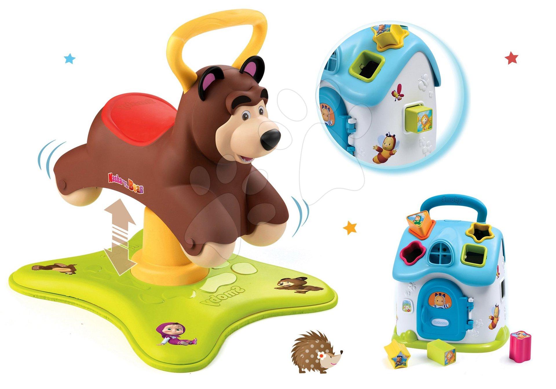 Set odrážadlo Medveď 2v1 Smoby skákajúci a točiaci sa a modrý didaktický domček so zvukom a svetlom od 12 mes