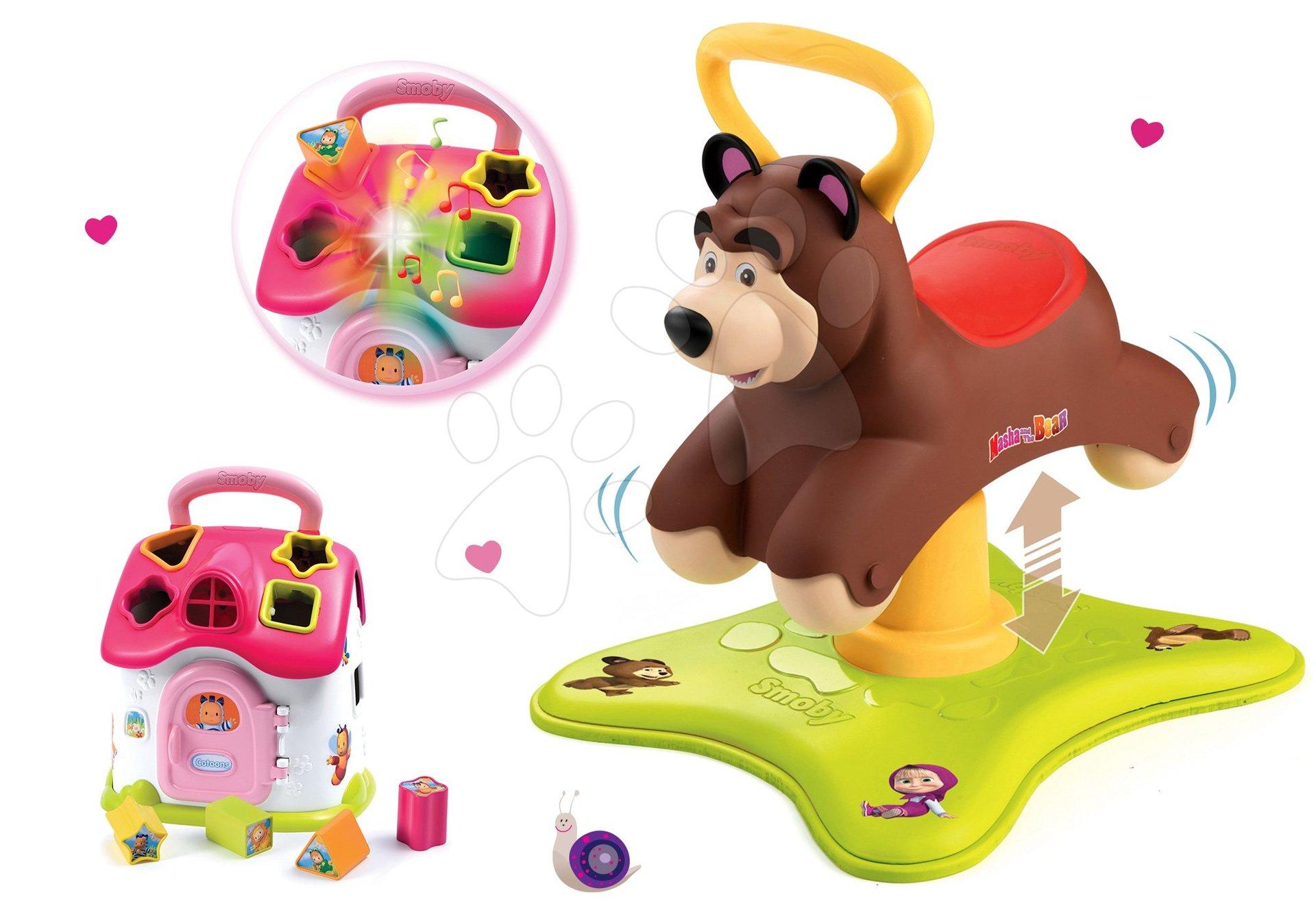 Set odrážadlo Medveď 2v1 Smoby skákajúci a točiaci sa a ružový didaktický domček Cotoons od 12 mes