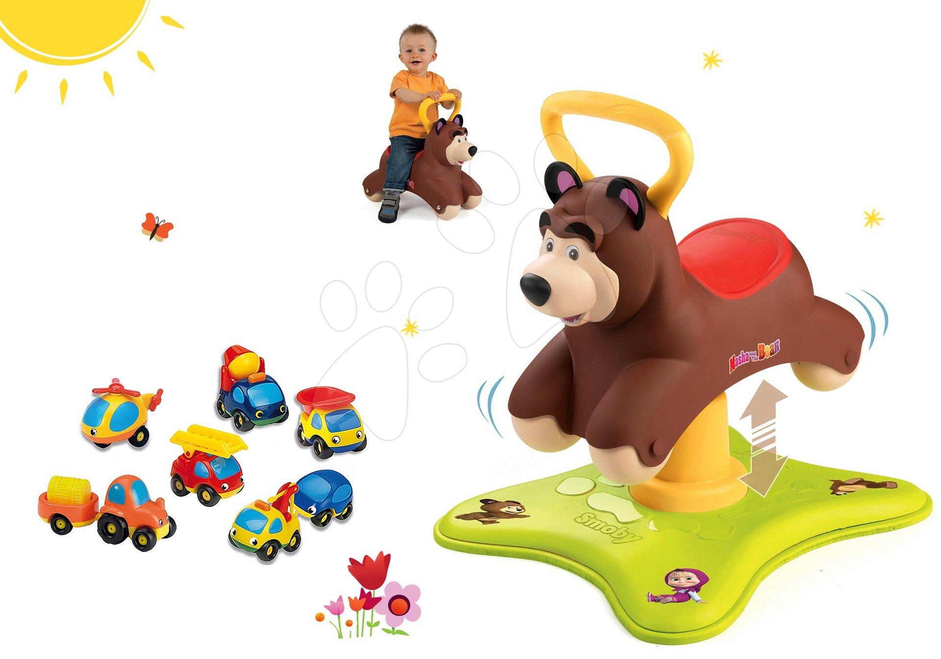 Set odrážadlo Medveď 2v1 Smoby skákajúci a točiaci sa a súprava 8 autíčok Vroom Planet od 12 mes
