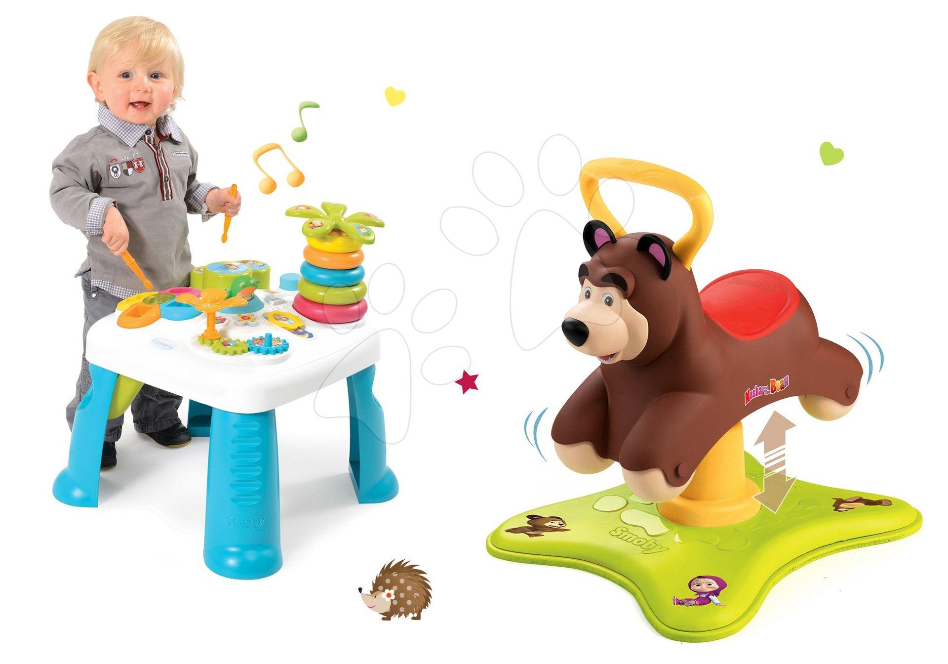Komplet poganjalec Medved 2v1 Smoby skakajoči in vrteči se in didaktična mizica Cotoons z različnimi funkcijami od 12 mes