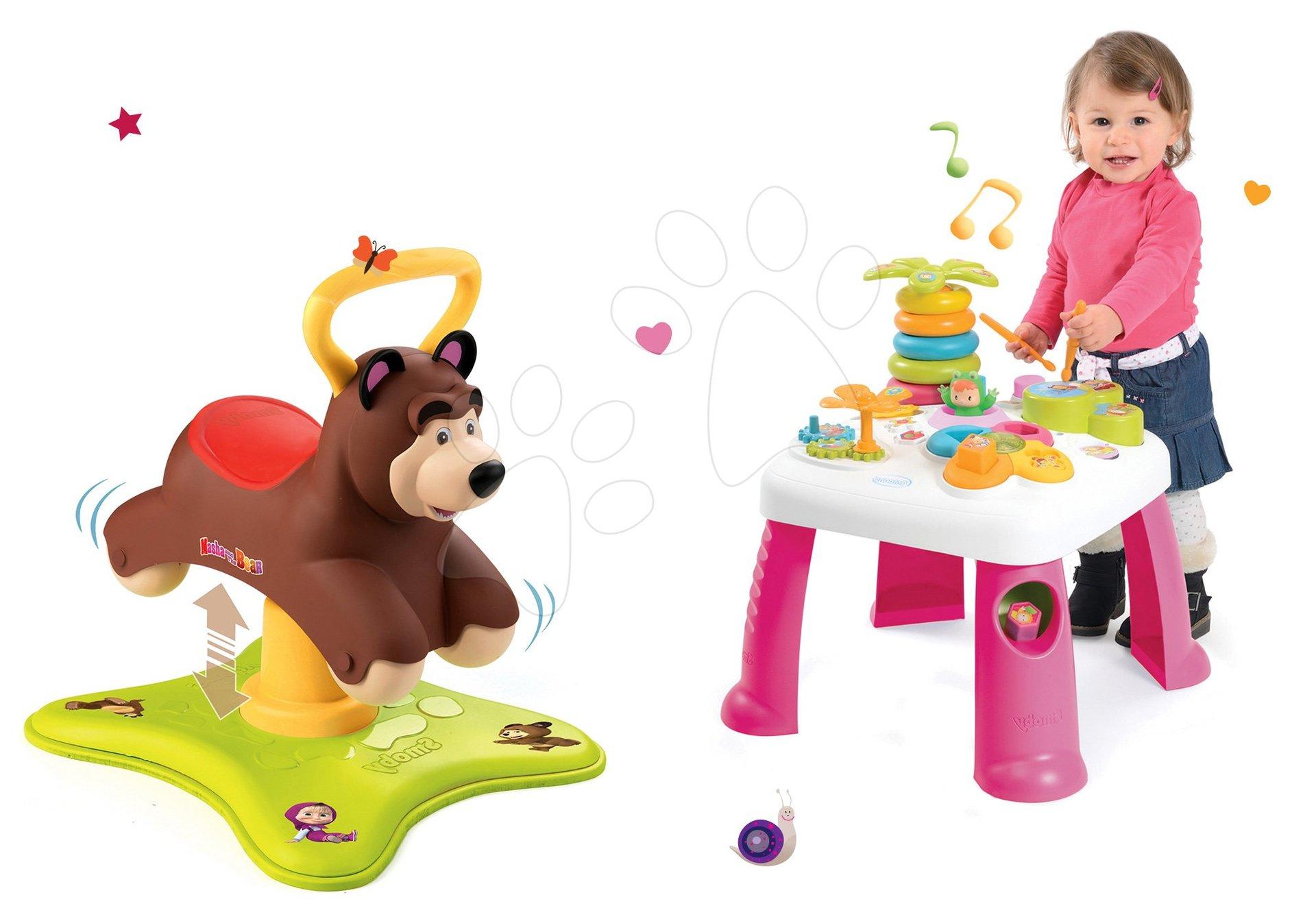 Set odrážadlo Medveď 2v1 Smoby skákajúci a točiaci sa a didaktický stolík Cotoons so svetlom a zvukom od 12 mes