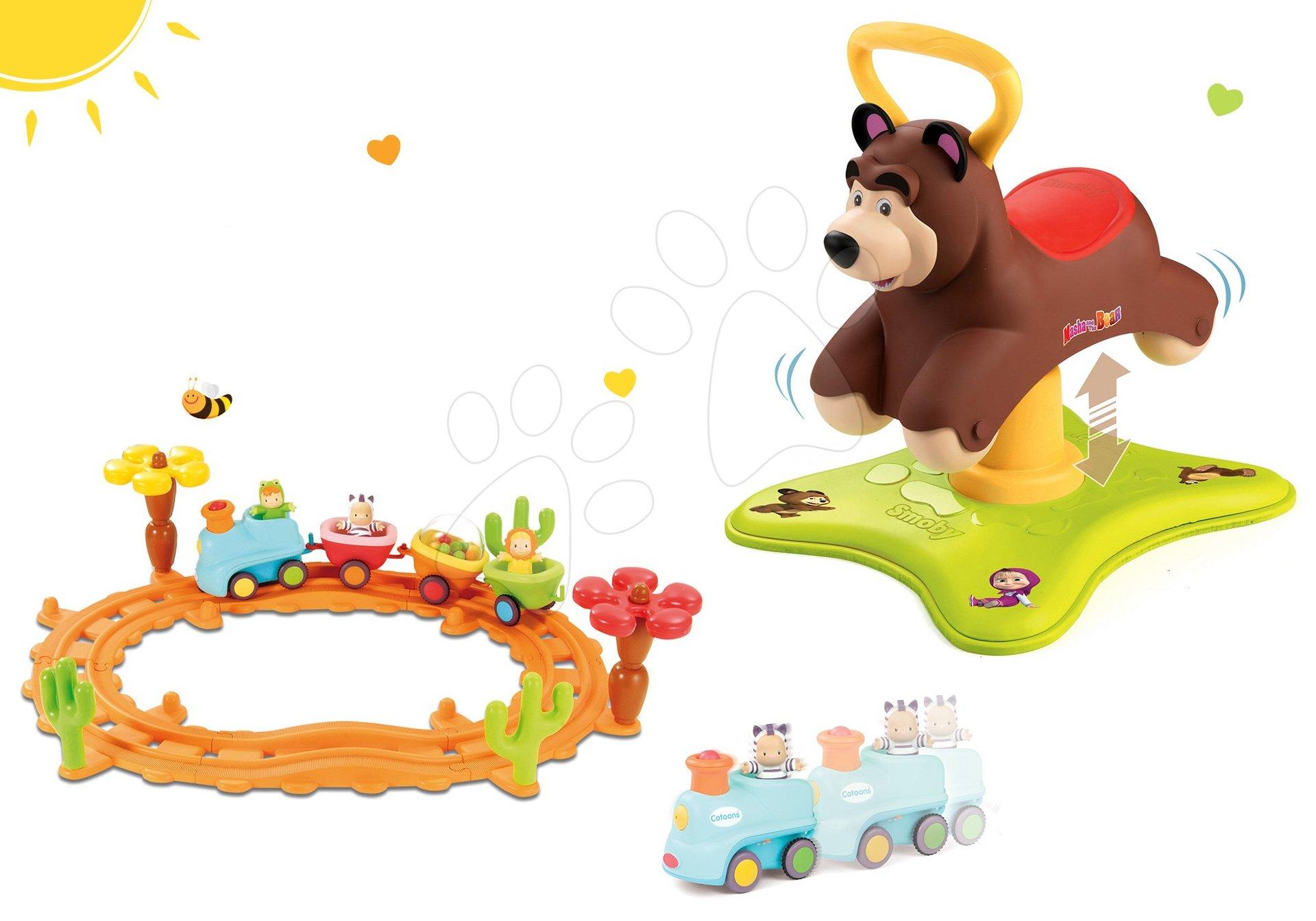 Set babytaxiu Ursuleţ 2in1 Smoby săltăreţ şi rotitor şi trenuleţ muzical Cotoons de la 12 luni