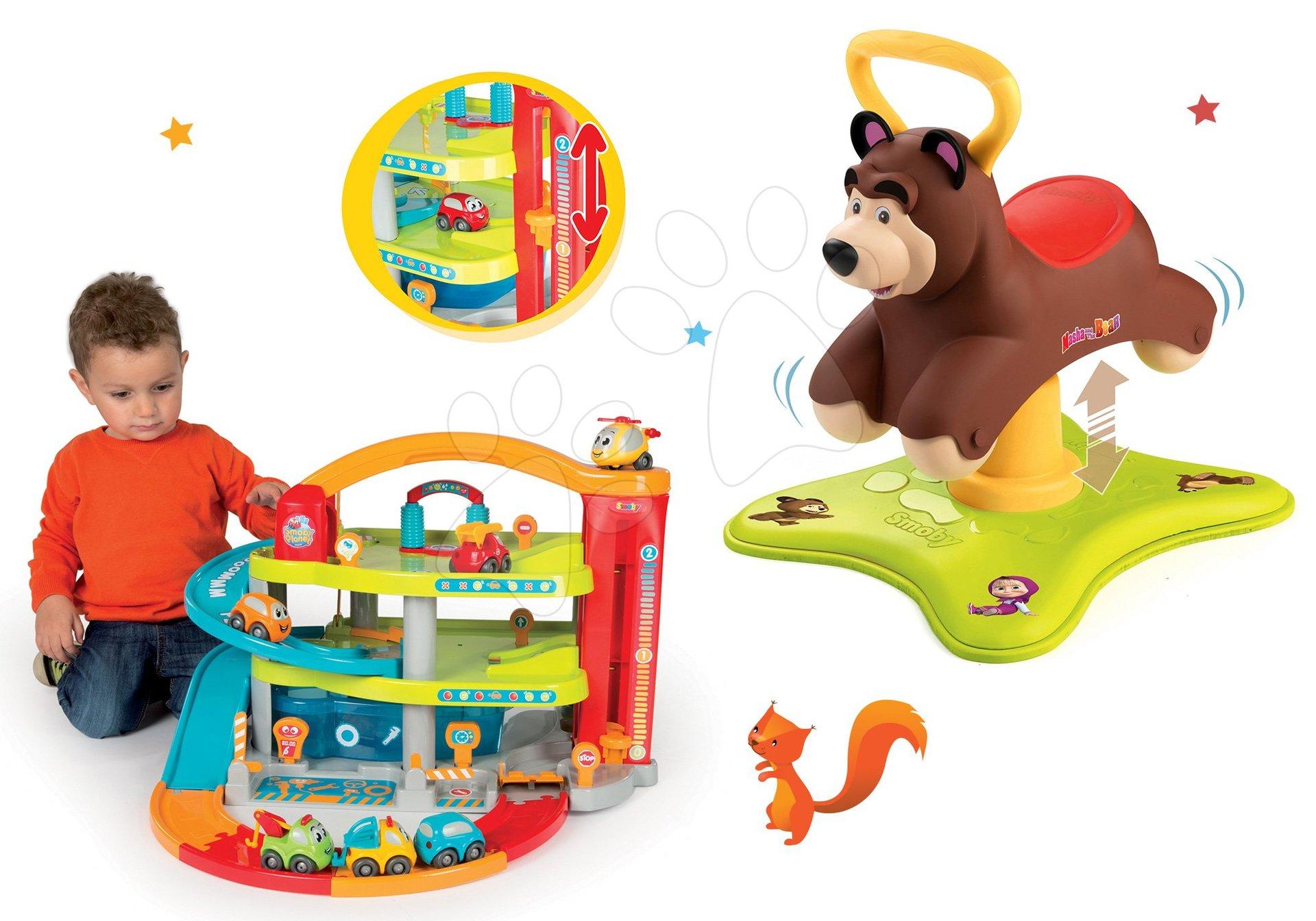 Set odrážadlo Medveď 2v1 Smoby skákajúci a točiaci sa a garáž Vroom Planet Grand od 12 mes