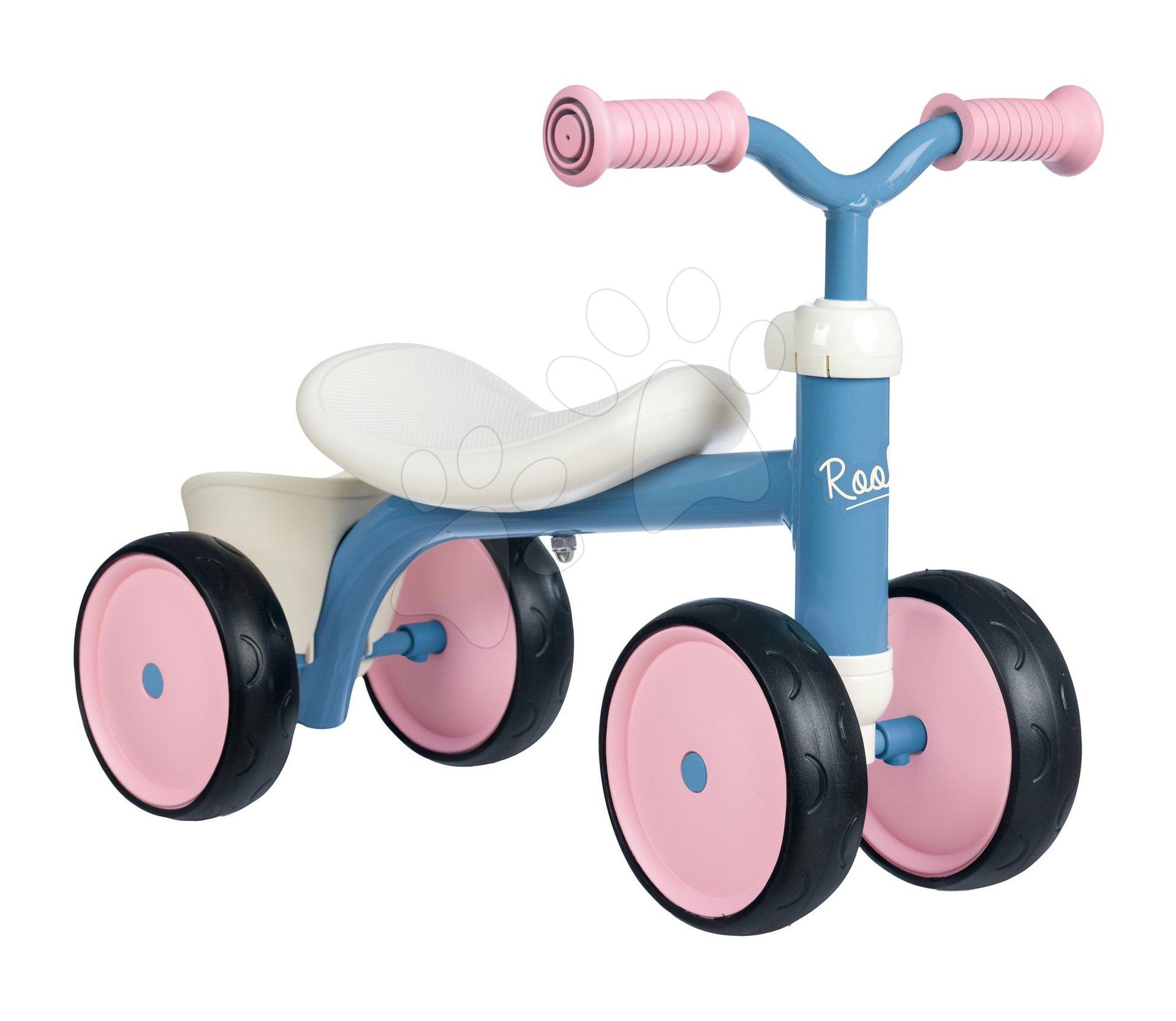 Babytaxiu Rookie Pink Smoby cu construcție metalică și ghidon rotativ de la 12 luni