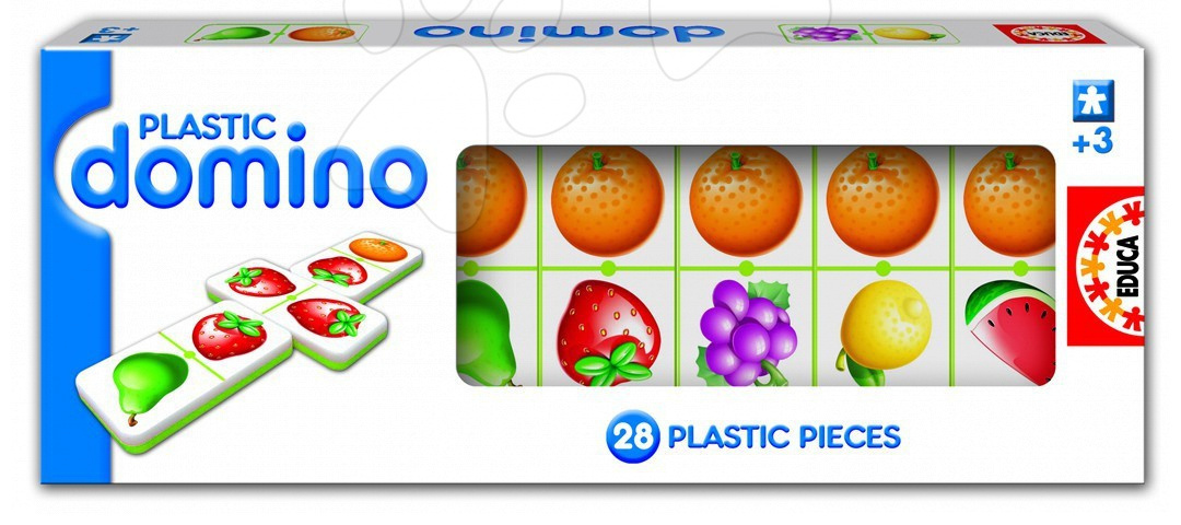 Domino pro nejmenší Plastic Educa 28ks s ovocem