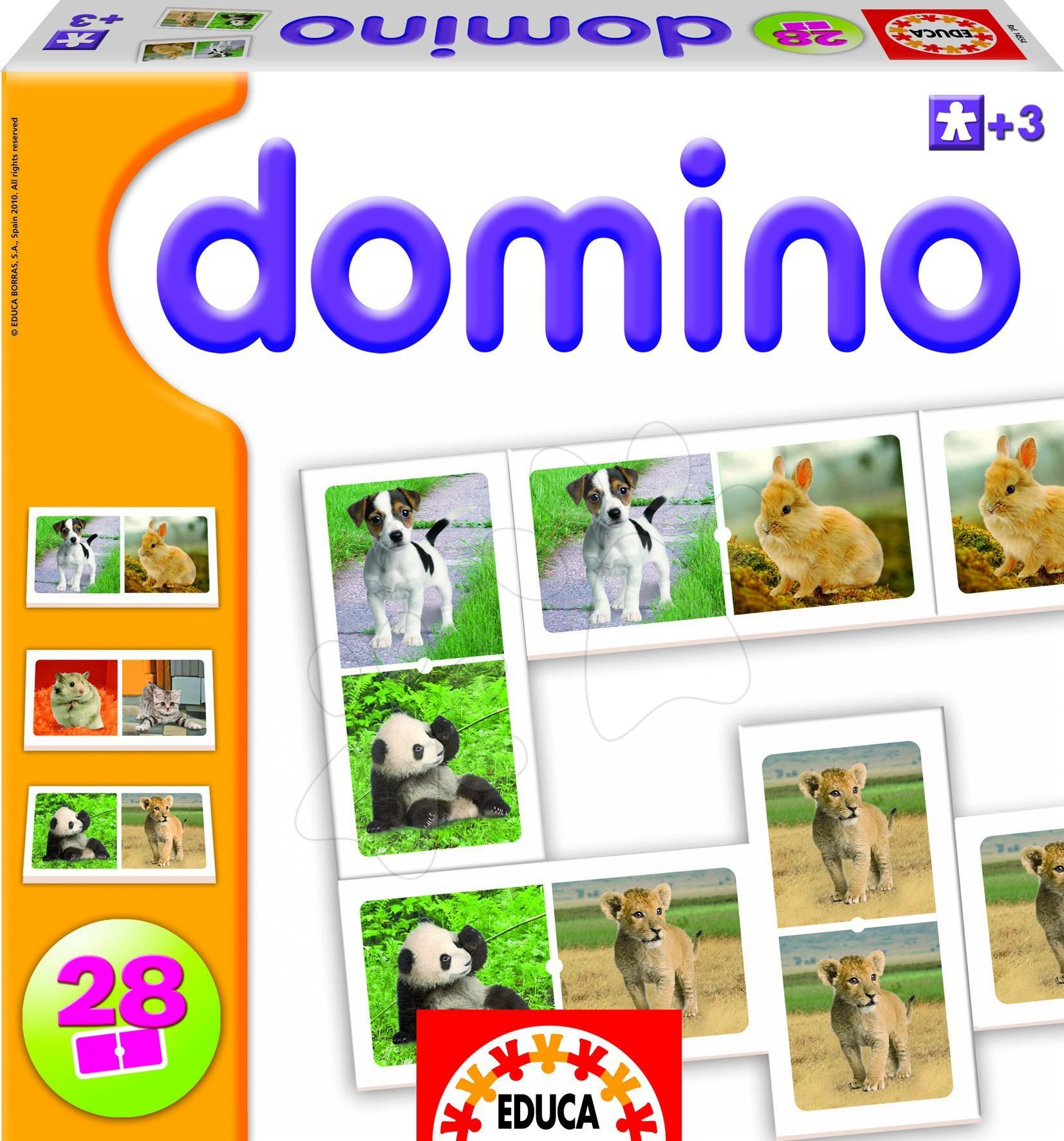 Domino a Lotto - Baby domino animal zvířátka Educa 28 dílků