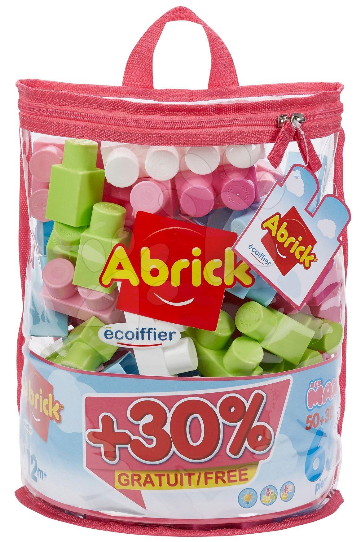 Stavebnice v tašce Maxi Abrick Écoiffier růžová s 50 kostkami + 30 % zadarmo = 65 kostek od 12 měsíců