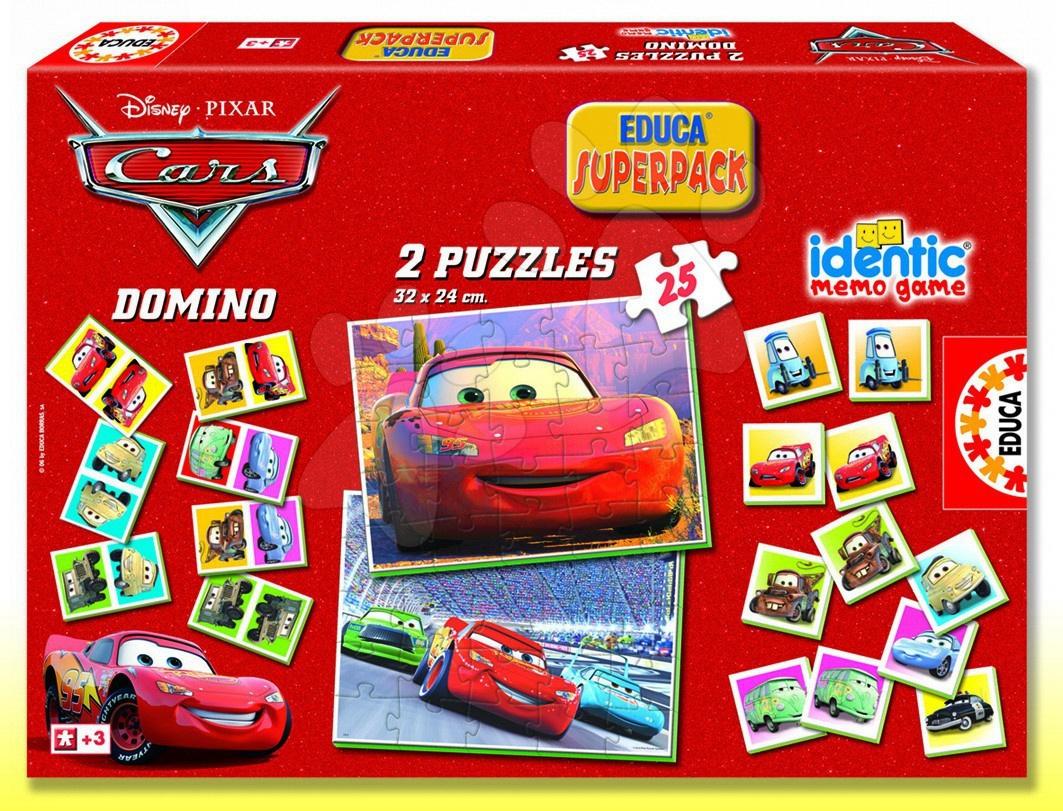 Progresivní dětské puzzle - Puzzle Auta SuperPack 4 v 1 Educa 2x puzzle, domino, pexeso