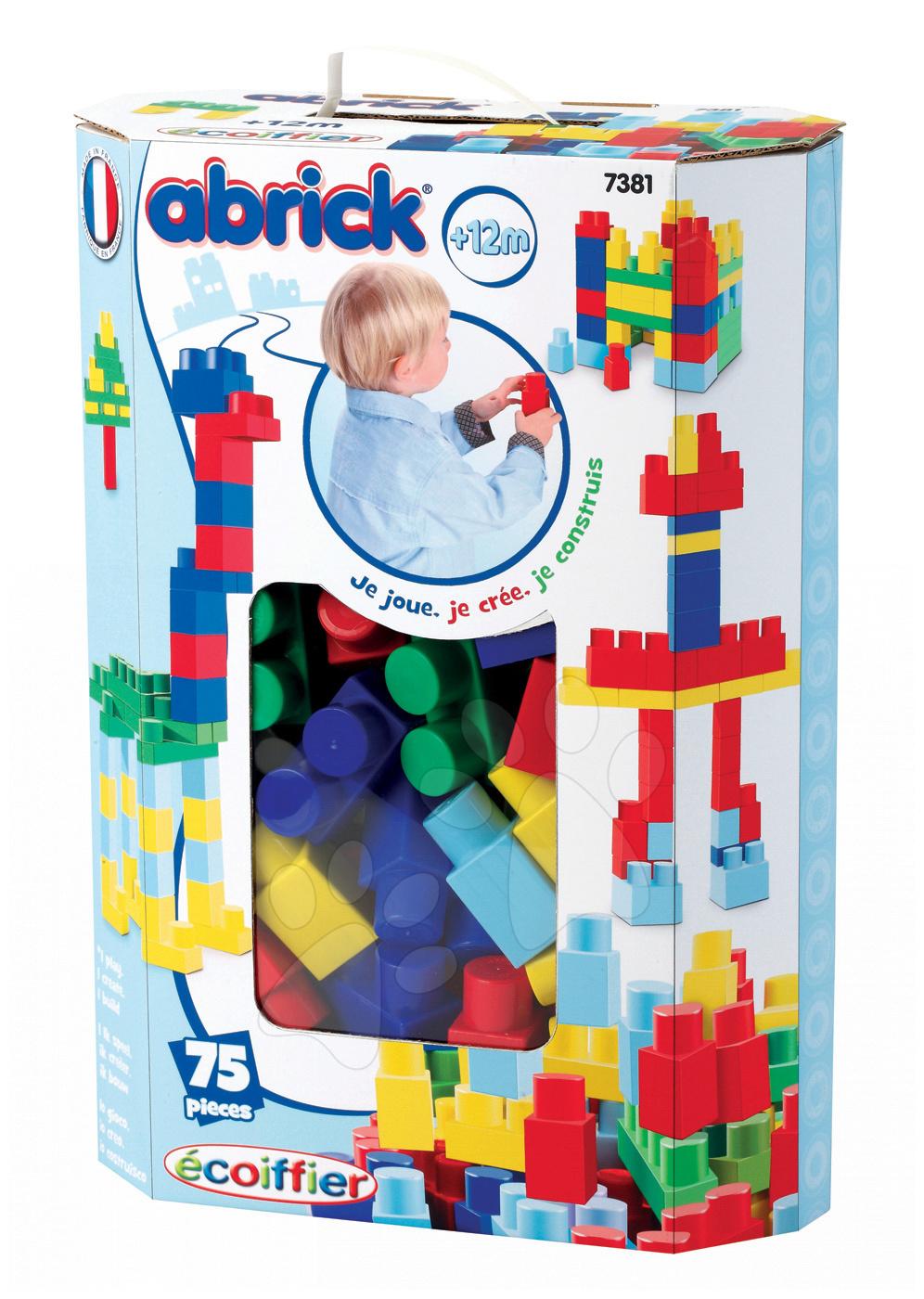 Stavebnice Maxi Abrick Écoiffier modrá krabice 75 dílů od 12 měsíců