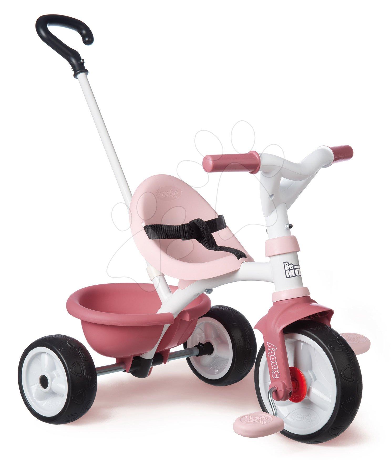 Tříkolka s volnoběhem Be Move Tricycle Pink Smoby s vodicí tyčí a EVA koly růžová od 15 měsíců