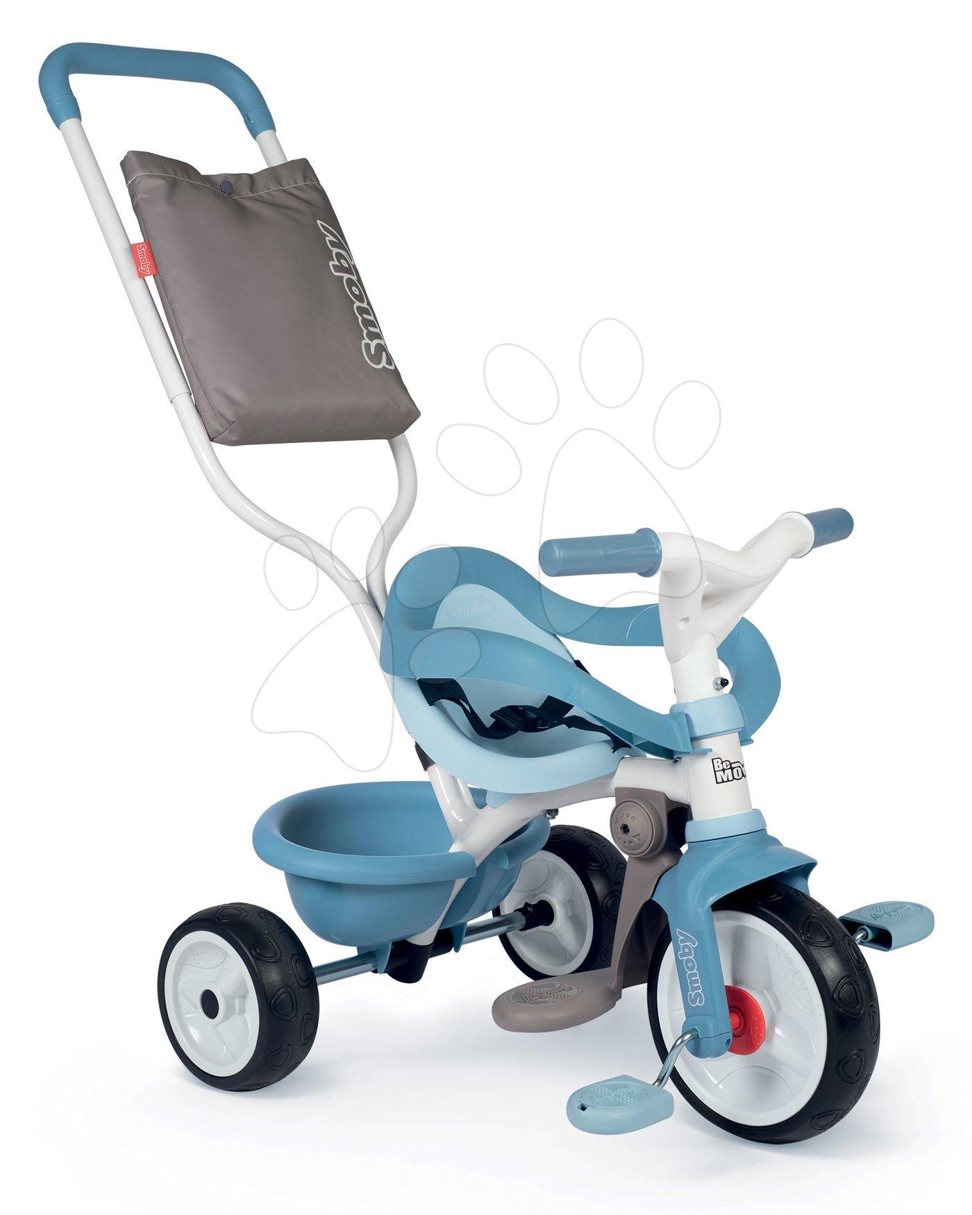 Tříkolka s opěrkou Be Move Comfort Tricycle Blue Smoby s EVA koly a vodicí tyč s taškou modrá od 10 měsíců