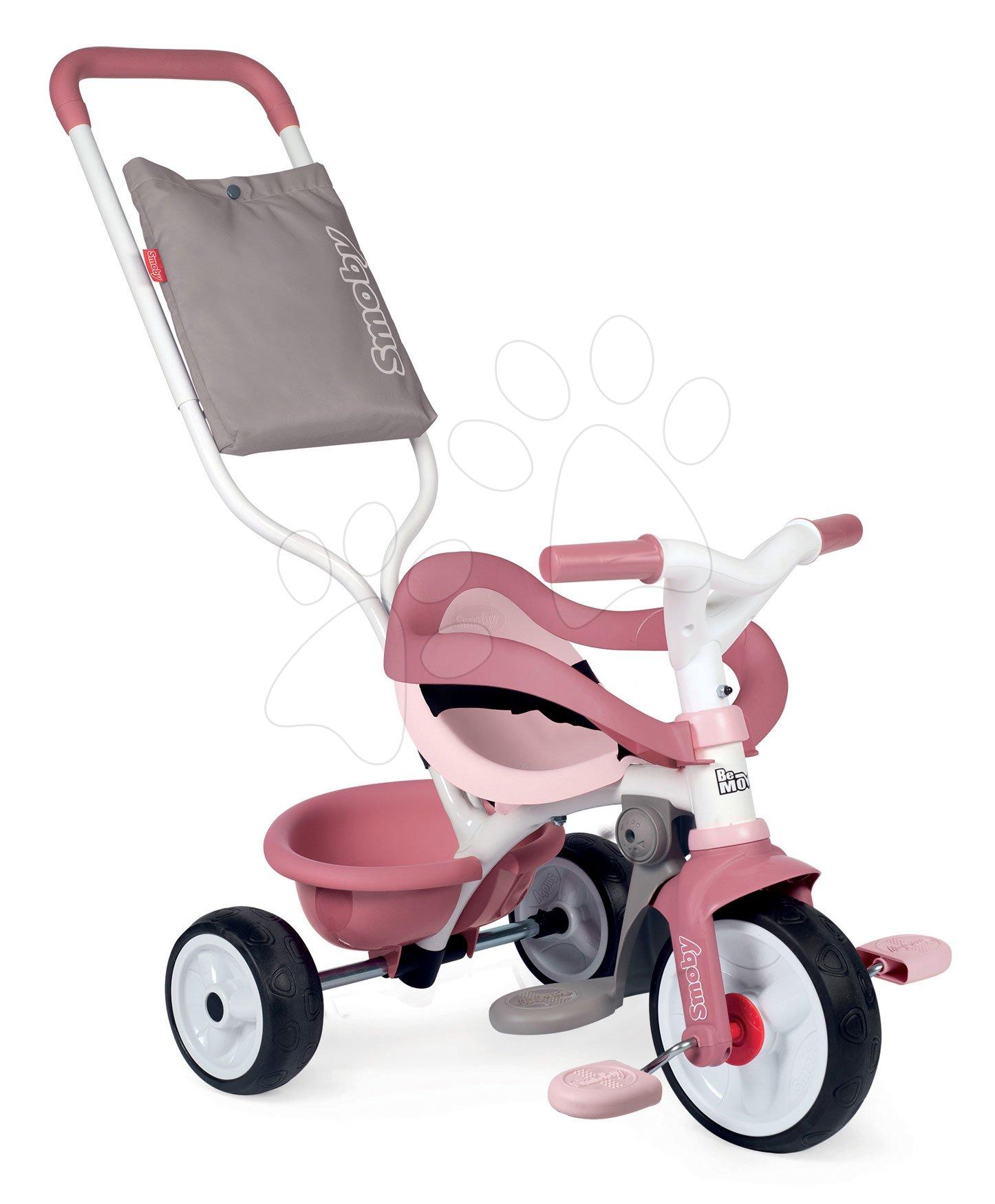 Tříkolka s opěrkou Be Move Comfort Tricycle Pink Smoby s EVA koly a vodicí tyč s taškou růžová od 10 měsíců