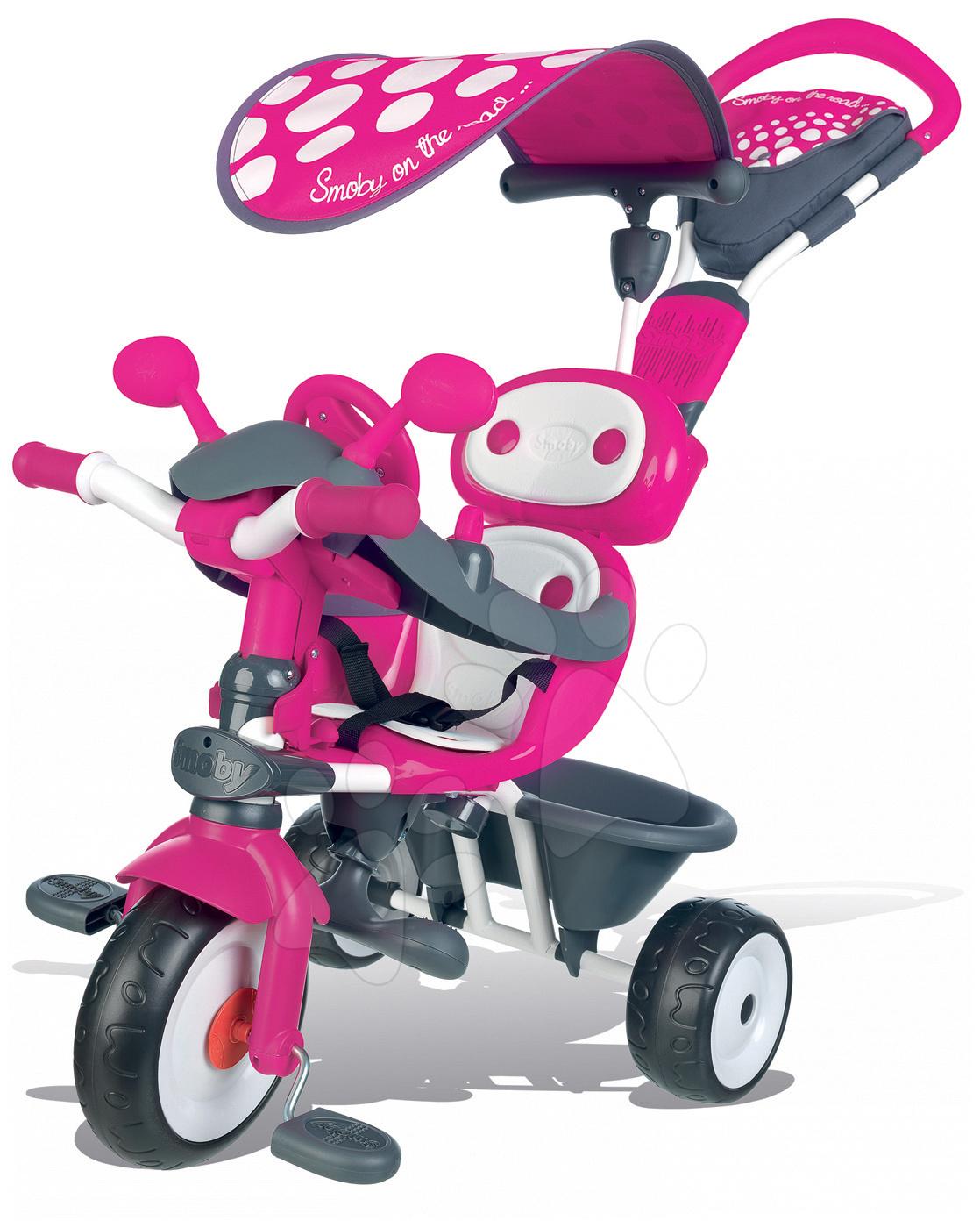 Tříkolka Baby Driver Smoby se stříškou a volantem růžovo-šedá od 10 měsíců