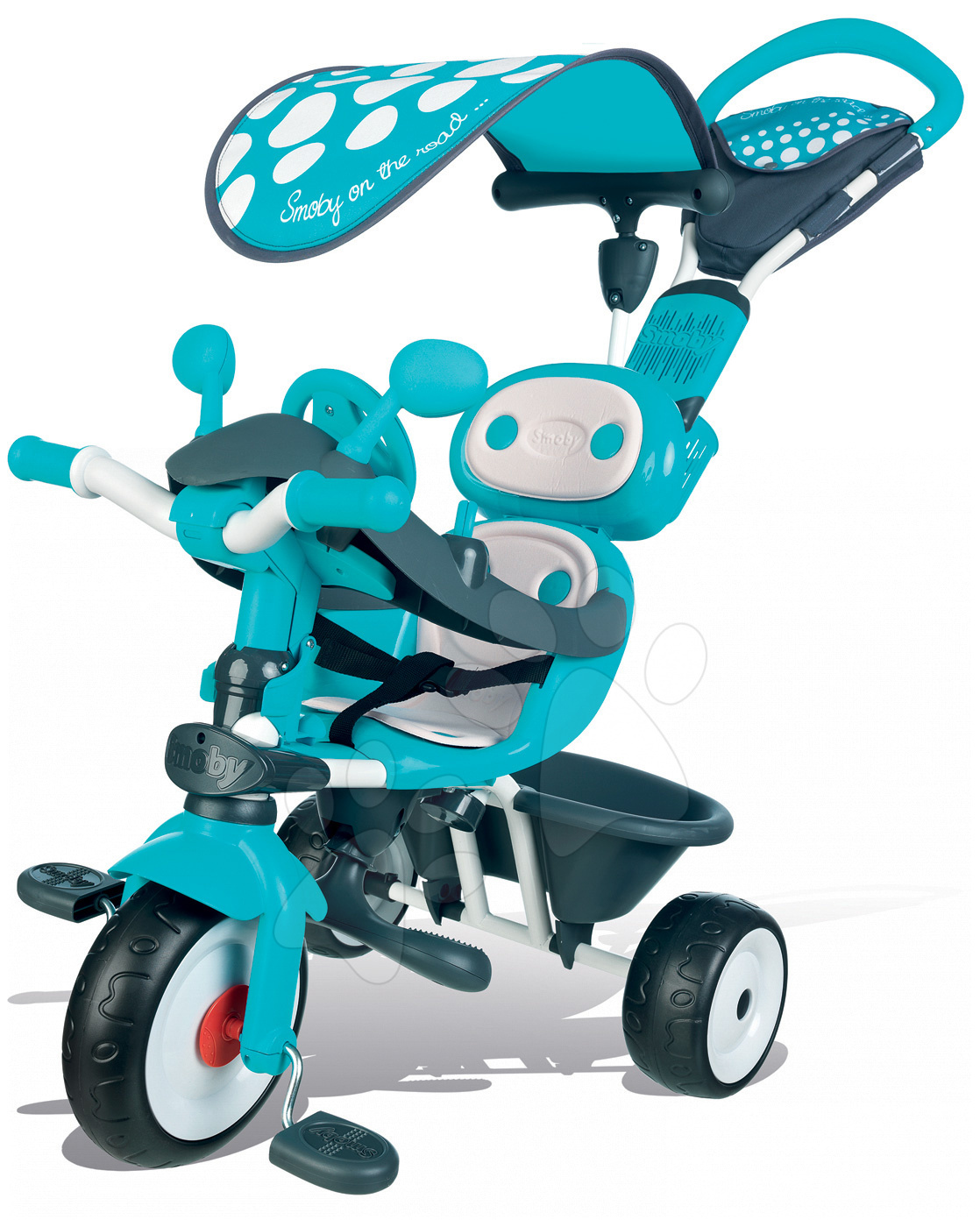 Trojkolka Baby Driver Smoby so strieškou a volantom modro-šedá od 10 mes