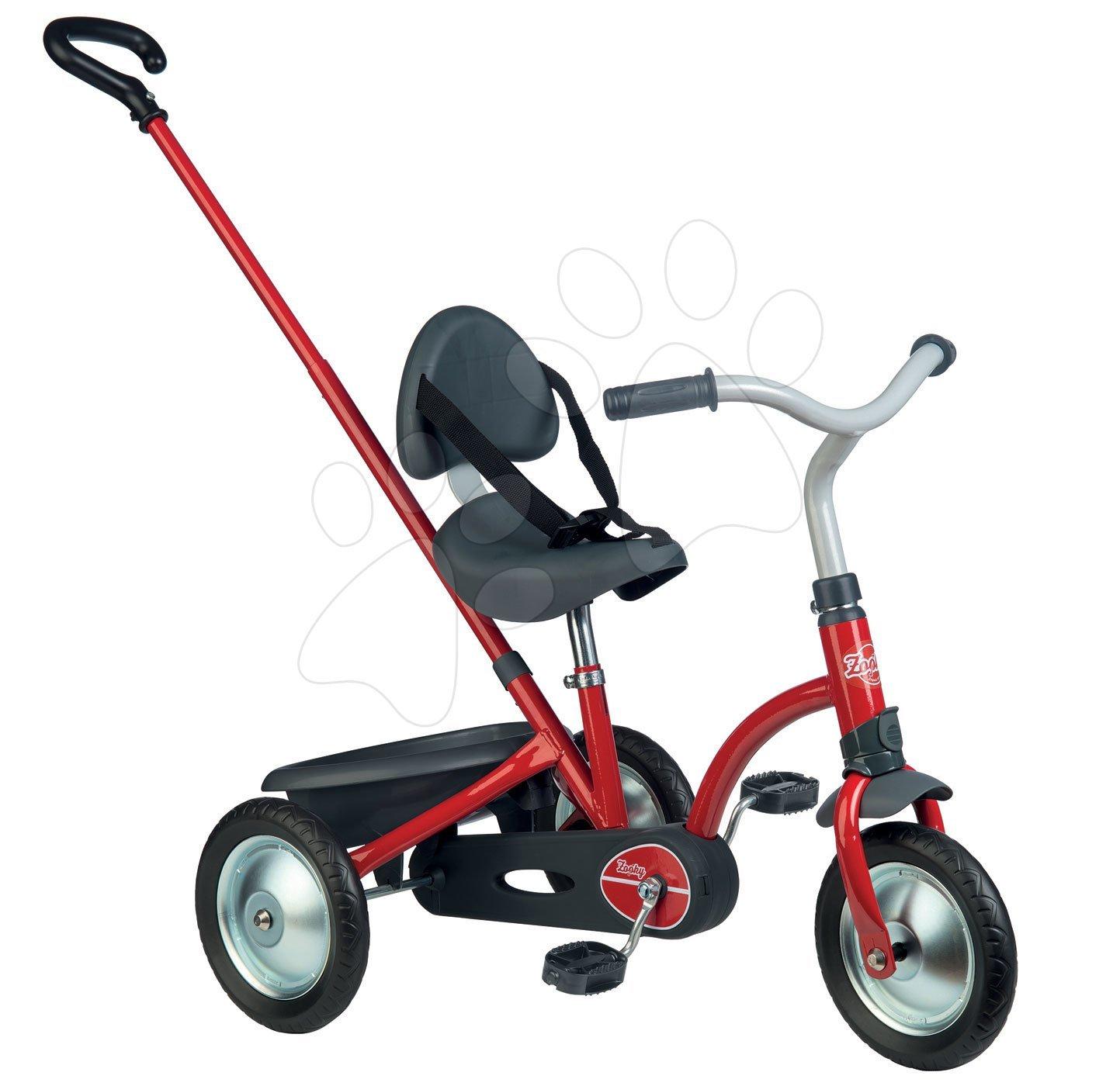 Tricicletă Zooky Original Smoby acţionată pe lanţ, cu mâner pentru împins roşu de la 16 luni