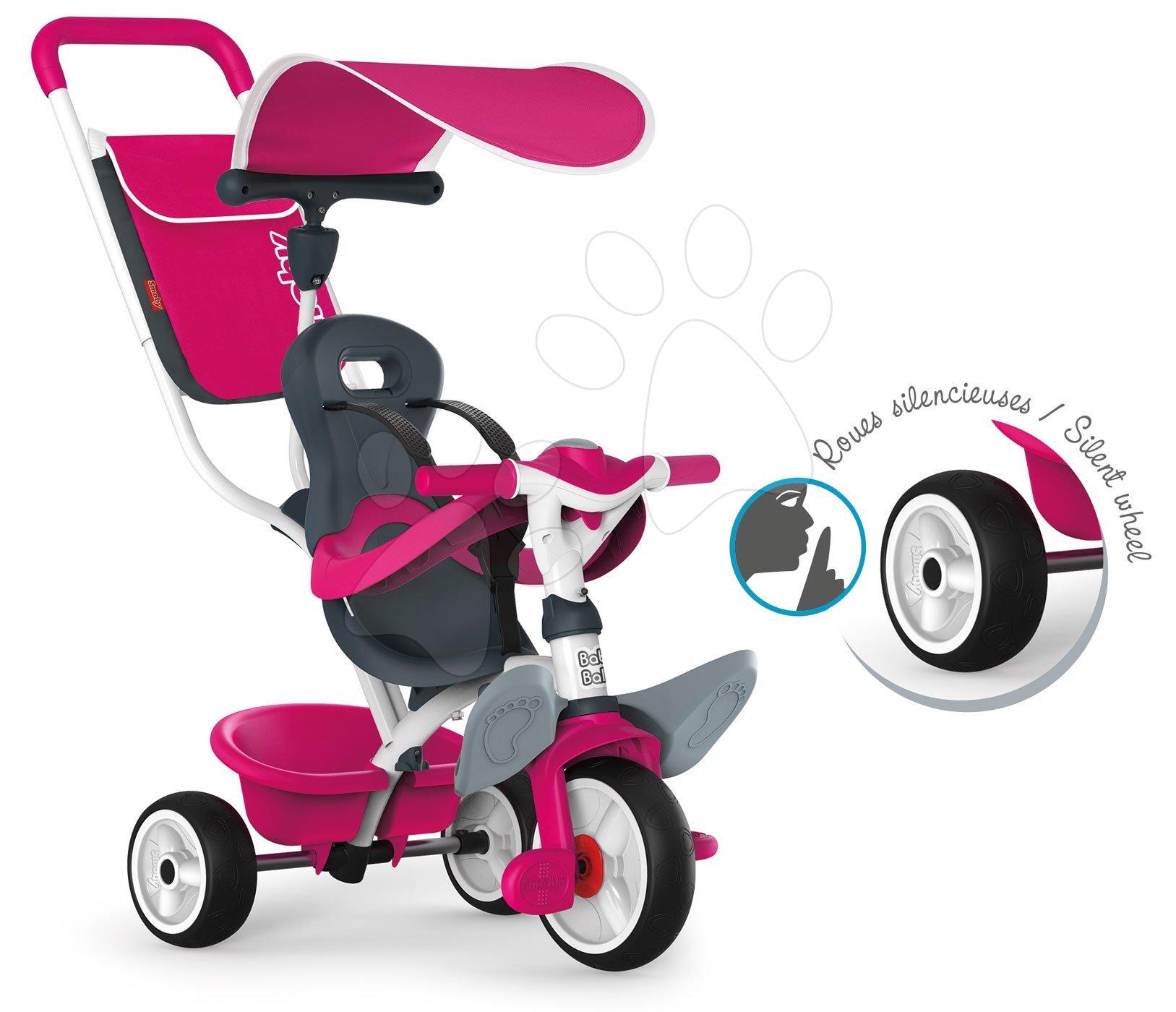 Tříkolka Baby Balade Blue Smoby s EVA kolečky růžovo-šedá od 10 měsíců