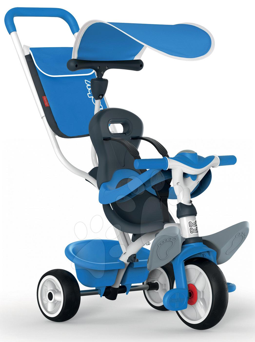 Tricicletă cu protecţie împotriva căderii Baby Balade Smoby cu roţi EVA albastră de la 10 luni