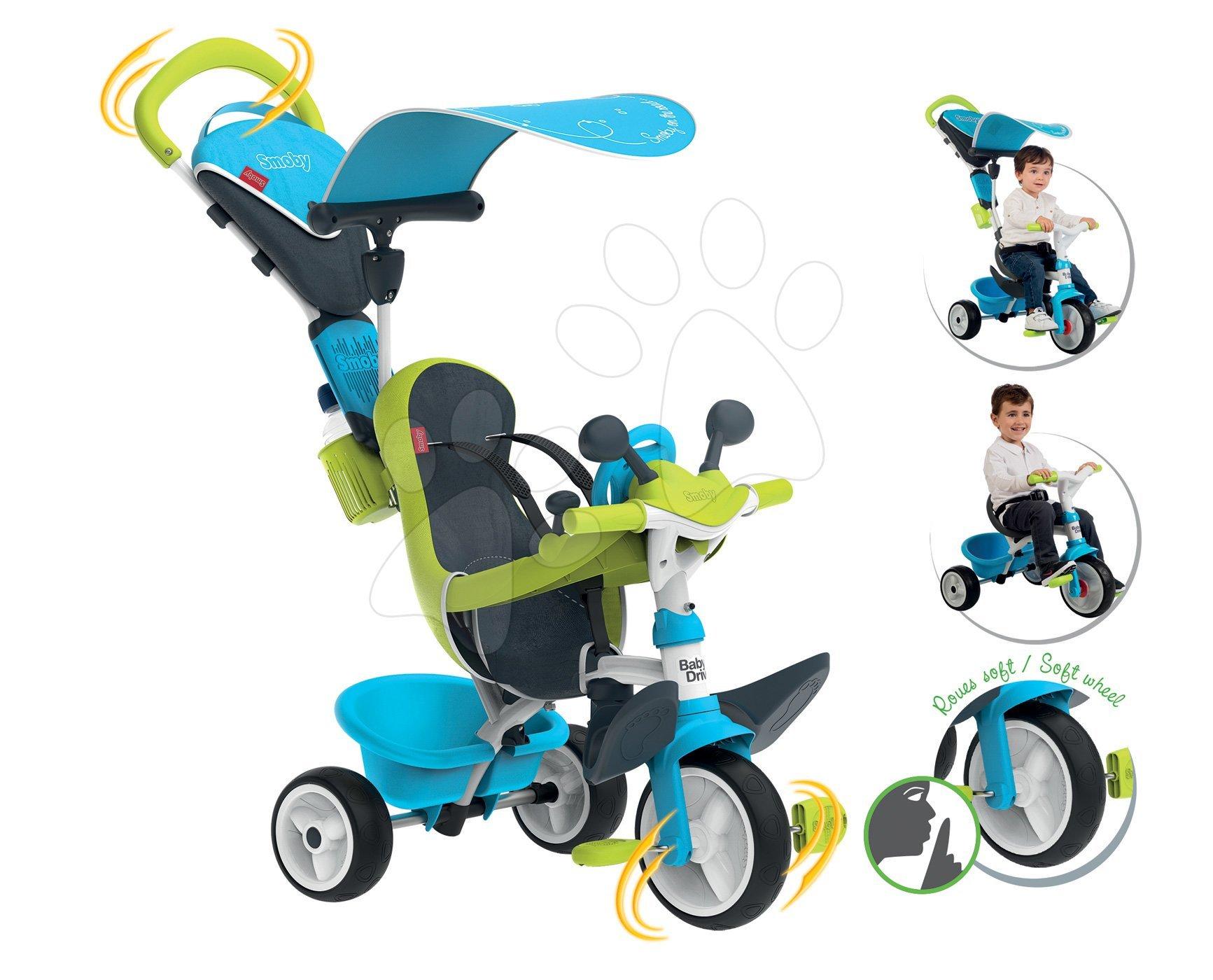 Tricikel s potiskom Baby Driver Comfort Blue Smoby z EVA kolesi in intuitivnim obvladovanjem moder