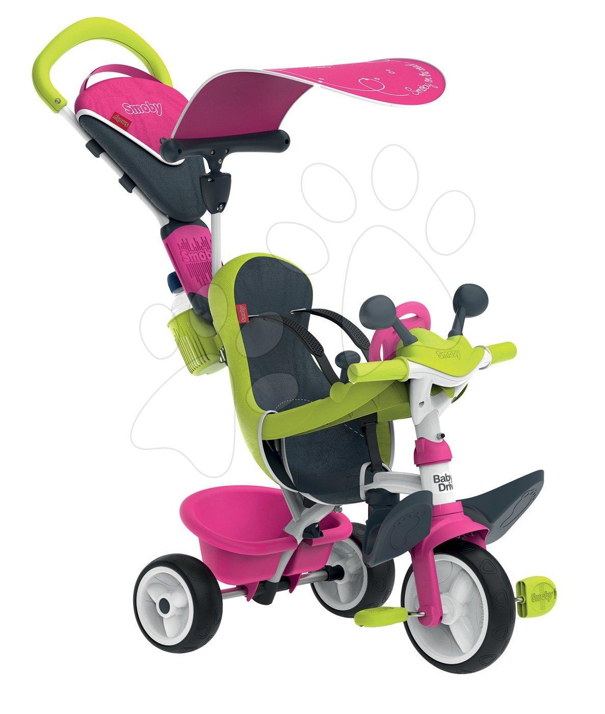 Tricicletă cu husă Baby Driver Comfort Pink Smoby cu roţi EVA şi cu ghidare intuitivă roz