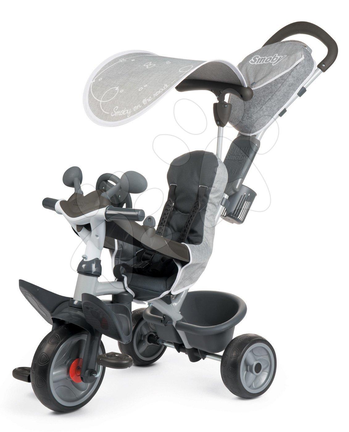 Tříkolka s potahem DeLuxe Baby Driver Comfort Grey Smoby s EVA koly a intuitivním ovládáním šedá