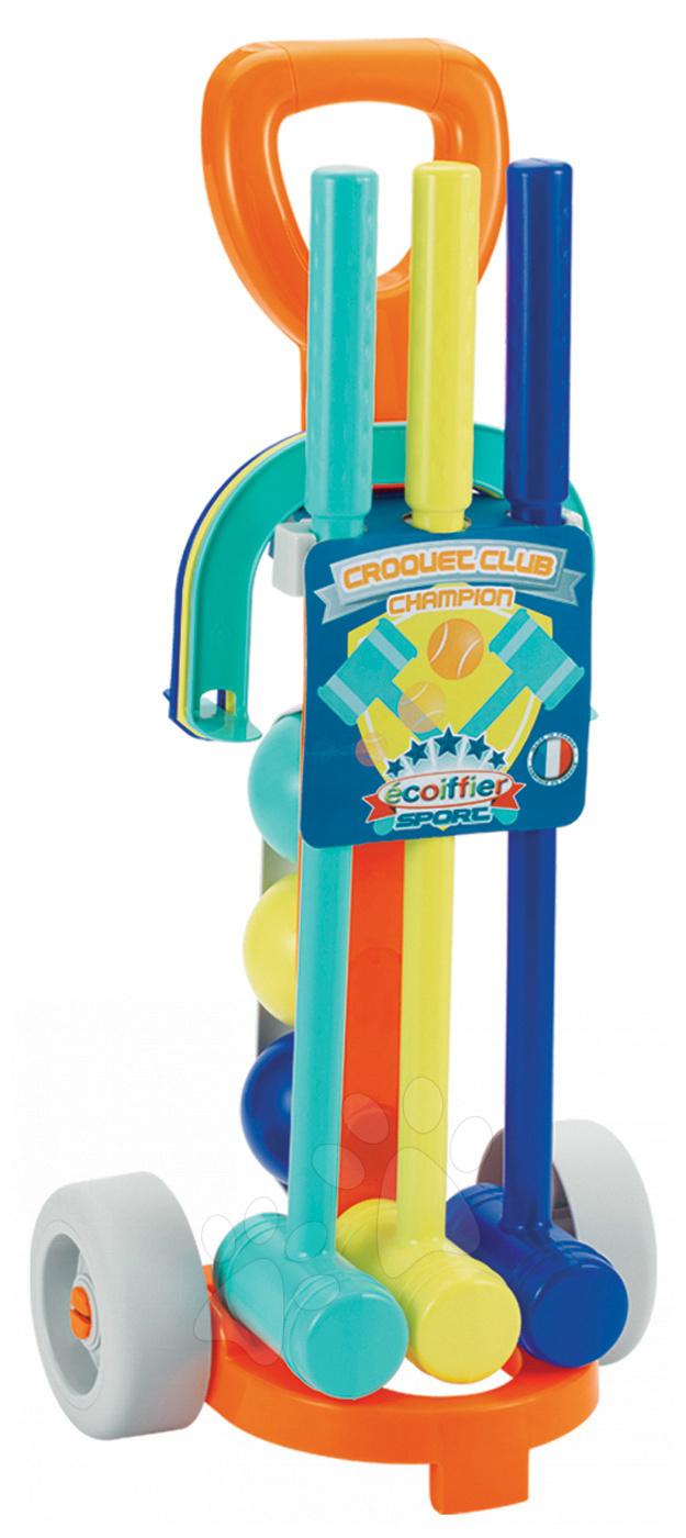 Kroketový set Crocquet Écoiffier s vozíkem modrý od 18 měsíců