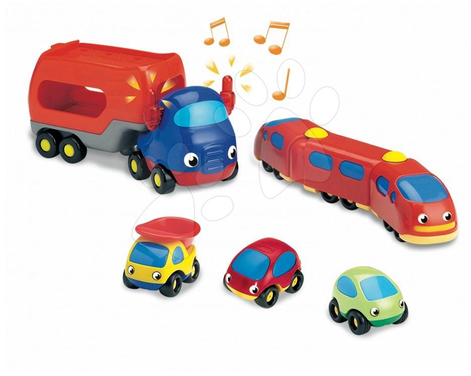 Garáže  - set elektronických autíček Vroom Planet Smoby 5 ks – kamion, vlak a 3 autíčka od 18 měsíců