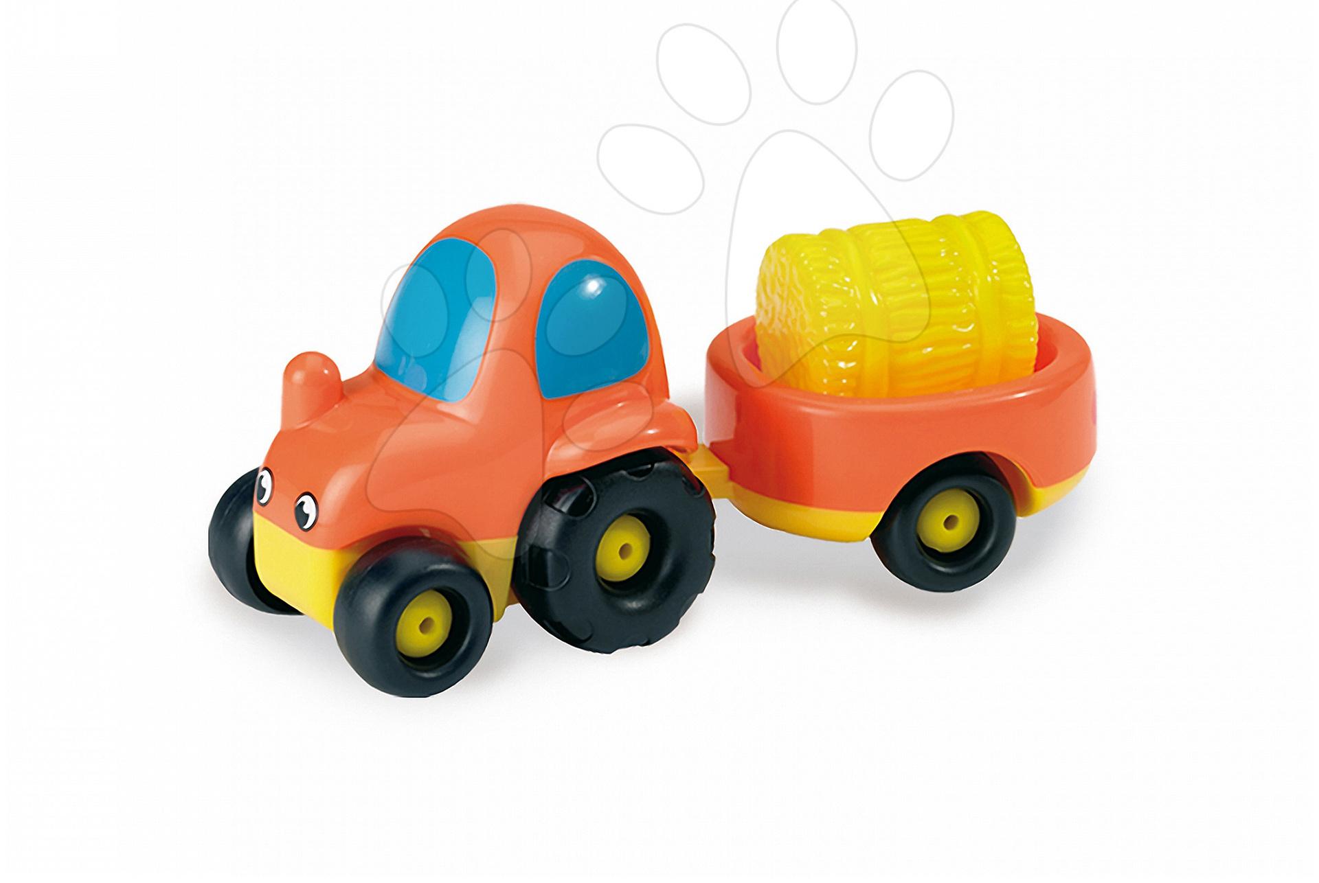 Tractor de jucărie Vroom Planet Smoby cu remorcă cu lungime de 15 cm de la 12 luni