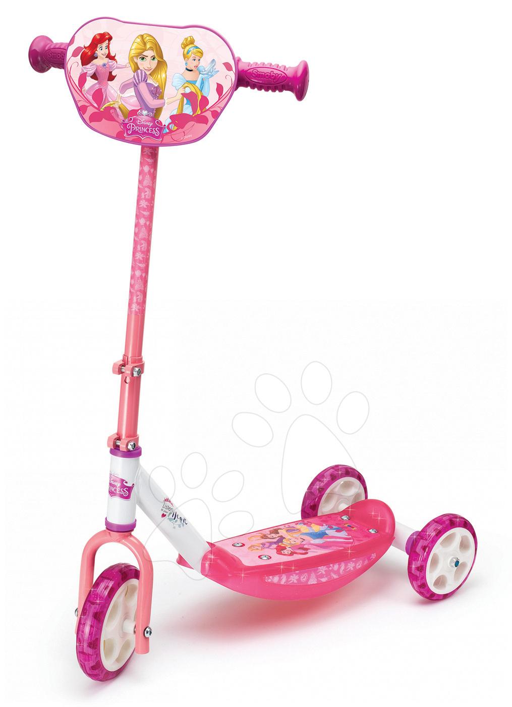 Háromkerekű roller Disney Hercegnők Smoby magasságilag allítható kormánnyal rózsaszín