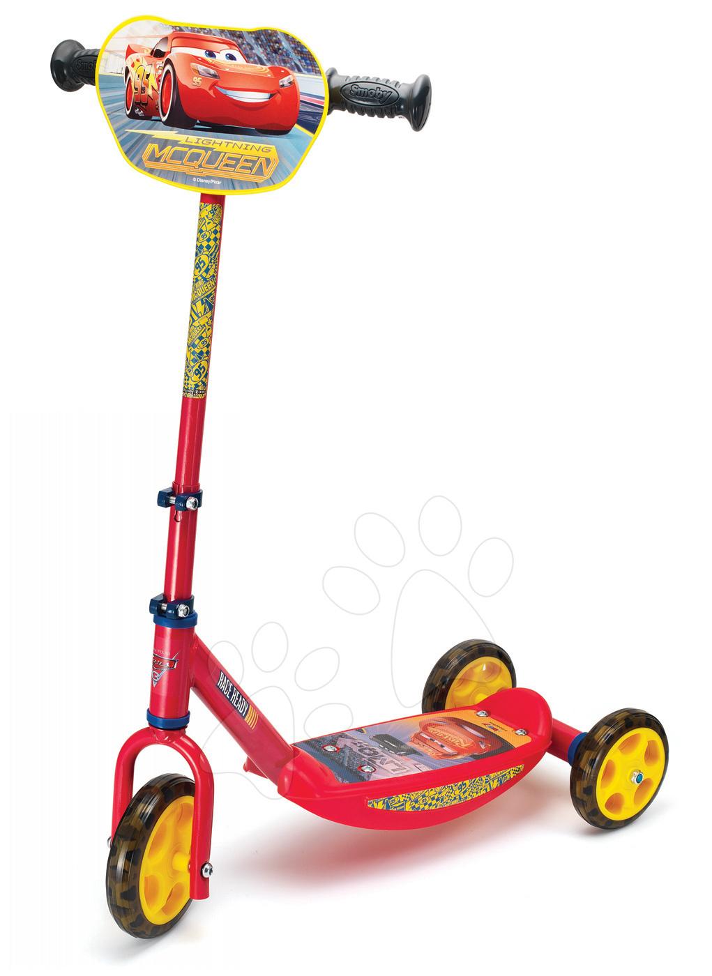 Trotinetă cu trei roţi Disney Cars 3 Smoby cu ghidon reglabil roşu