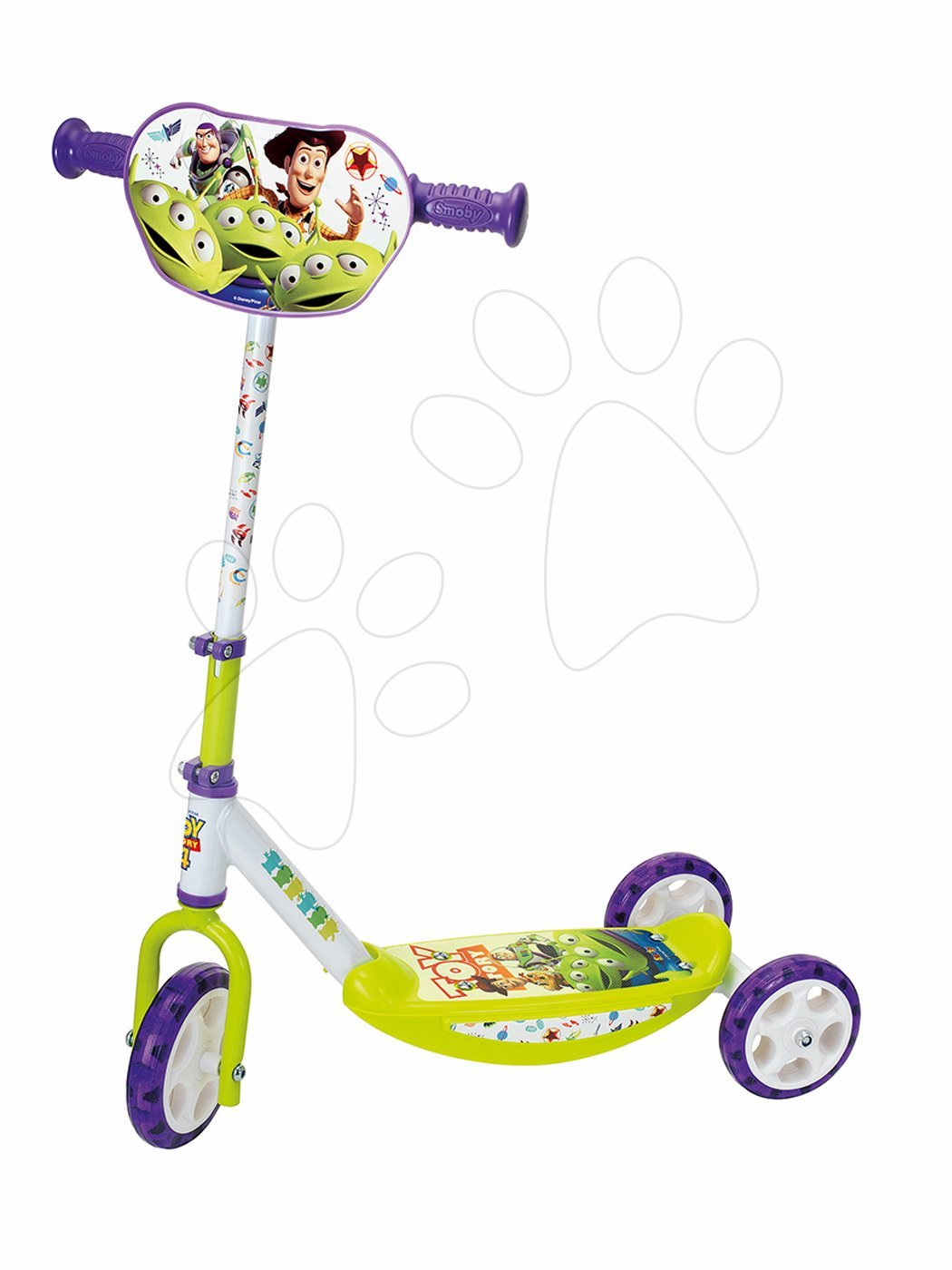 Háromkerekű roller Toy Story Disney Smoby magasságilag állítható kormány, csúszásmentes