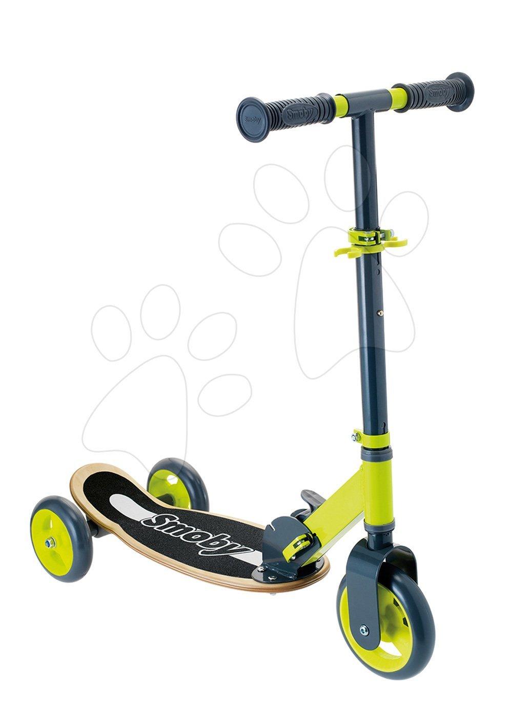 Fa háromkerekű roller Wooden Scooter Smoby összecsukható és magasságilag állítható 3 évtől