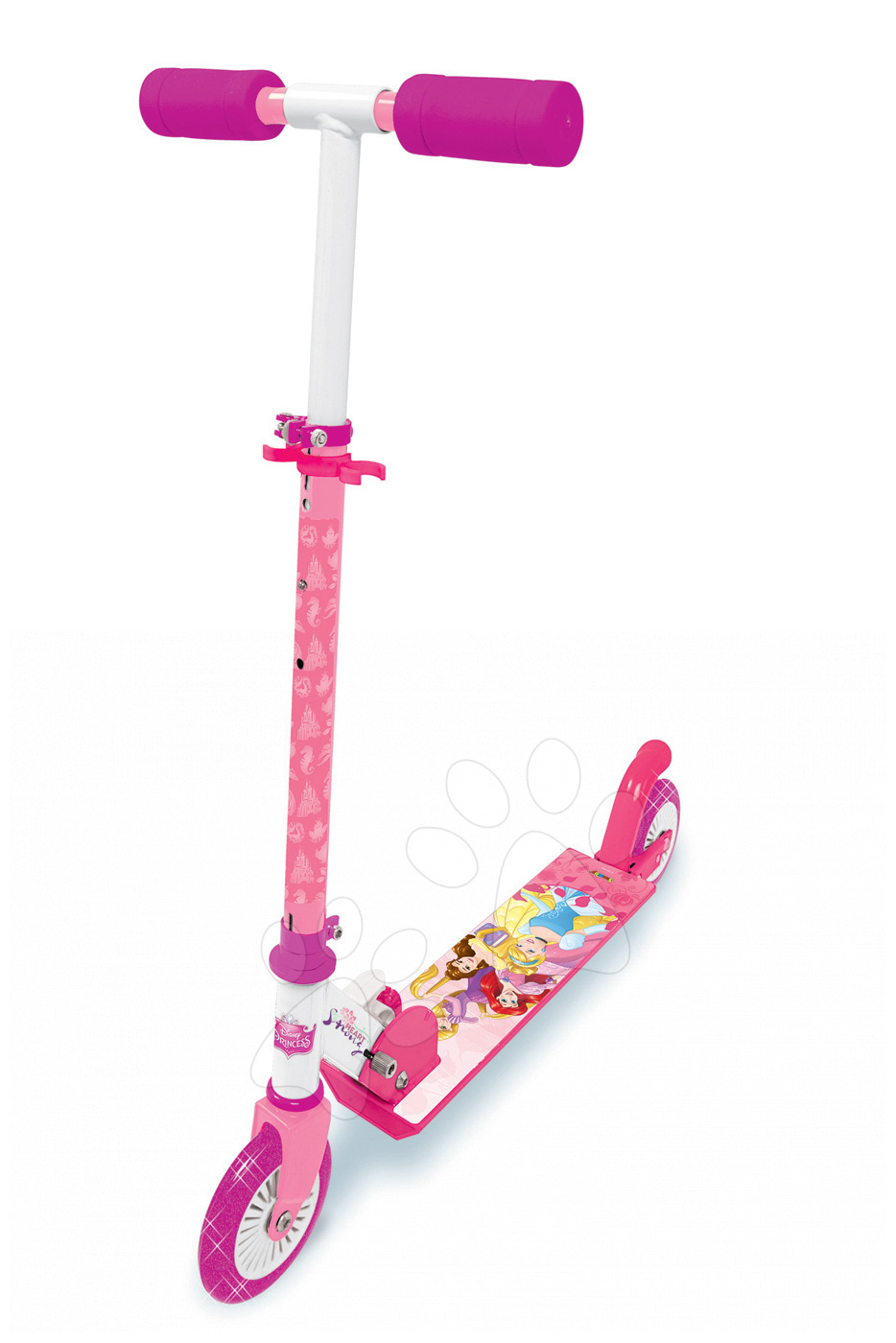 Trotinetă Disney Prinţese Smoby cu două roţi, ghidon pliabil şi reglabil de la 5 ani