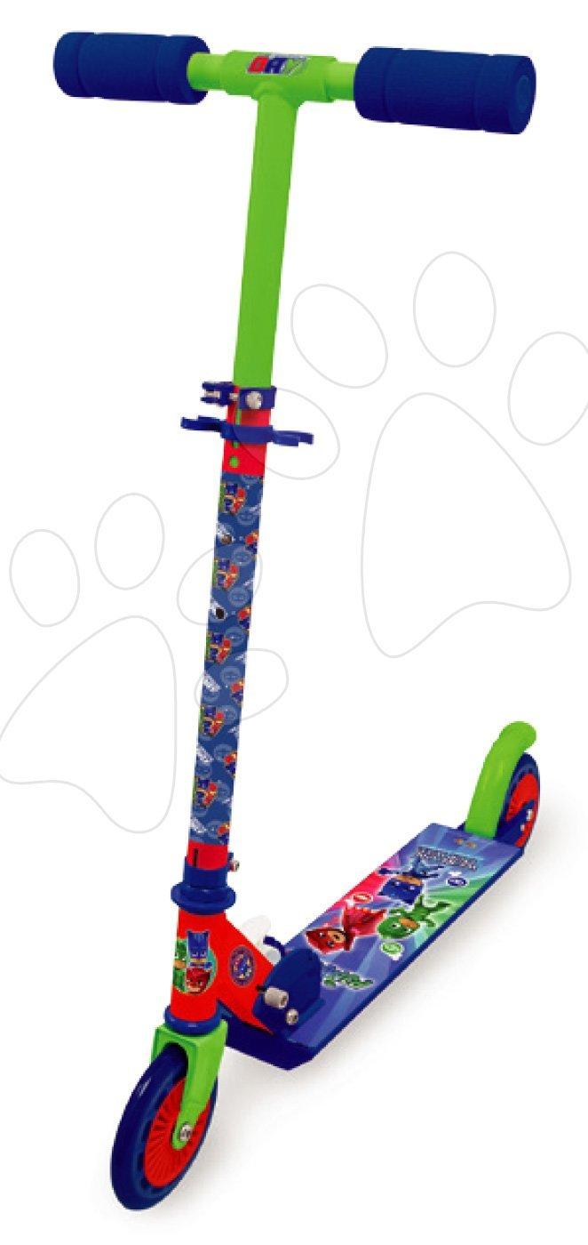Trotinetă cu două roţi PJMask Smoby pliabilă cu frână și ghidon reglabil în înălţime de la 5 ani