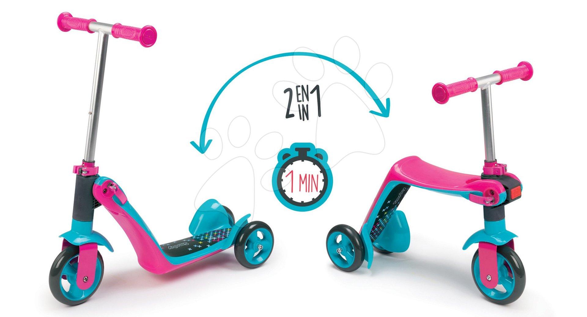Háromkerekű roller & bébitaxi 2in1 Smoby magasságilag állítható kormánnyal rózsaszín 18 hó-tól