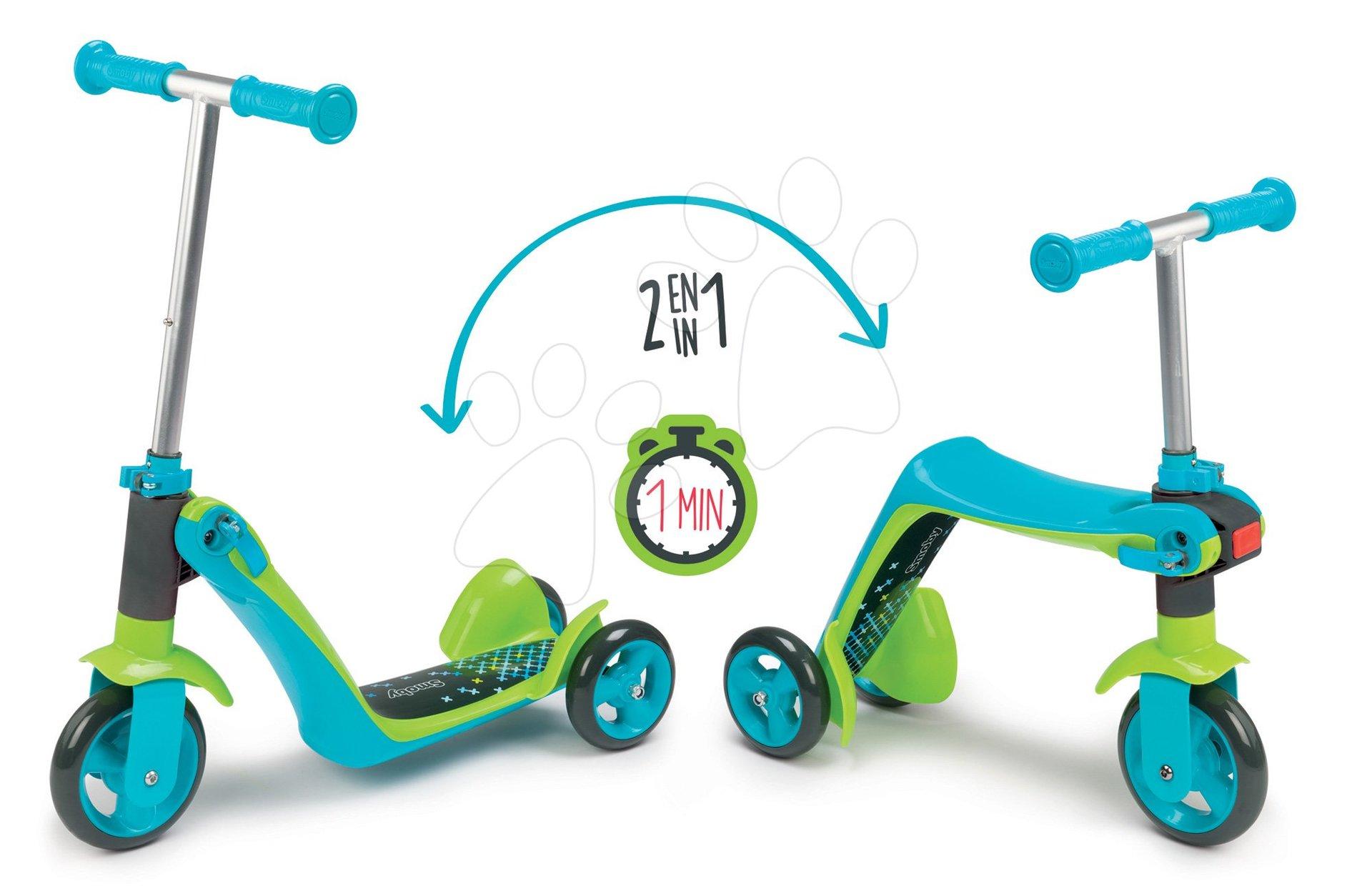Háromkerekű roller & bébitaxi 2in1 Smoby magasságilag állítható kormánnyal kék 18 hó-tól