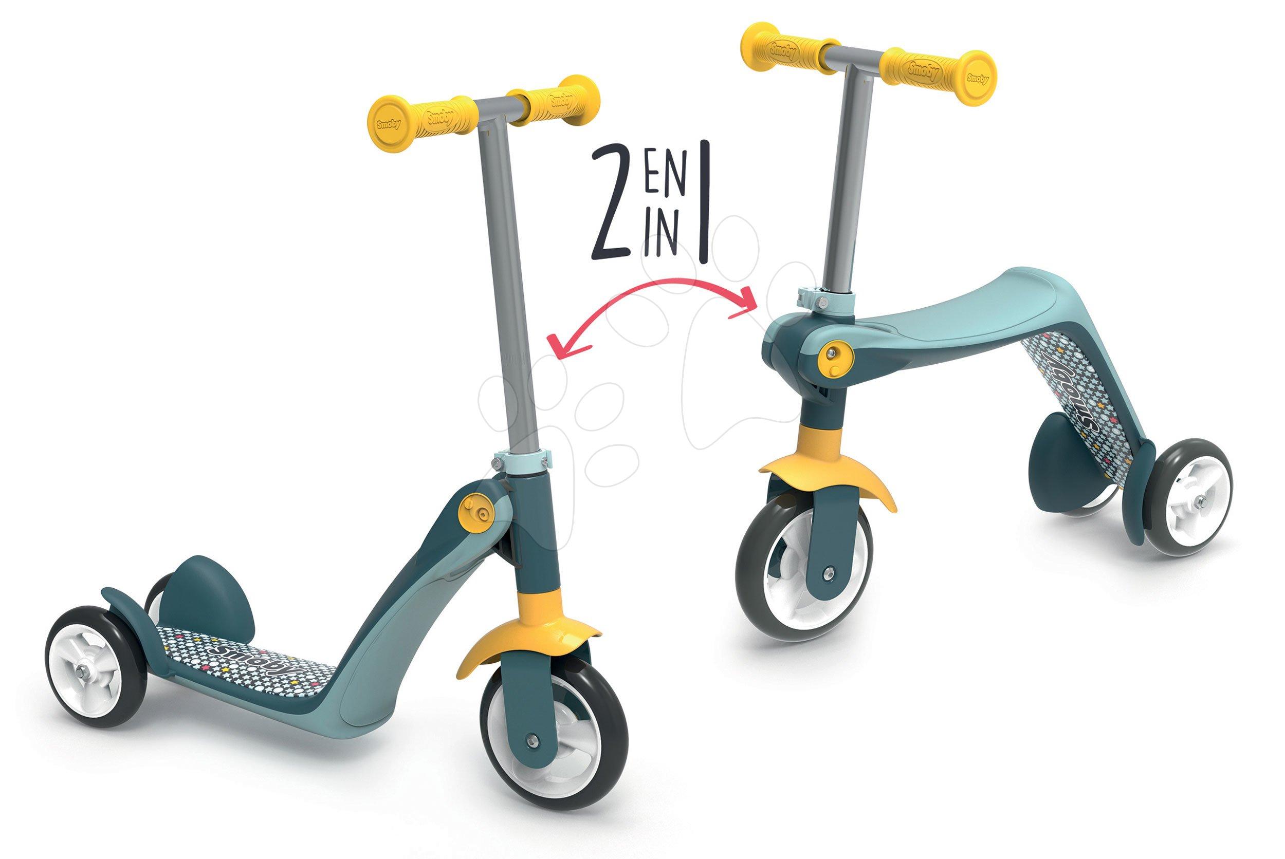 Roller&bébitaxi Reversible 2in1 Scooter Smoby háromkerekű acélszürke-sárga 53/63 cm magas kormány teherbírása 20 kg 18 hó-tól