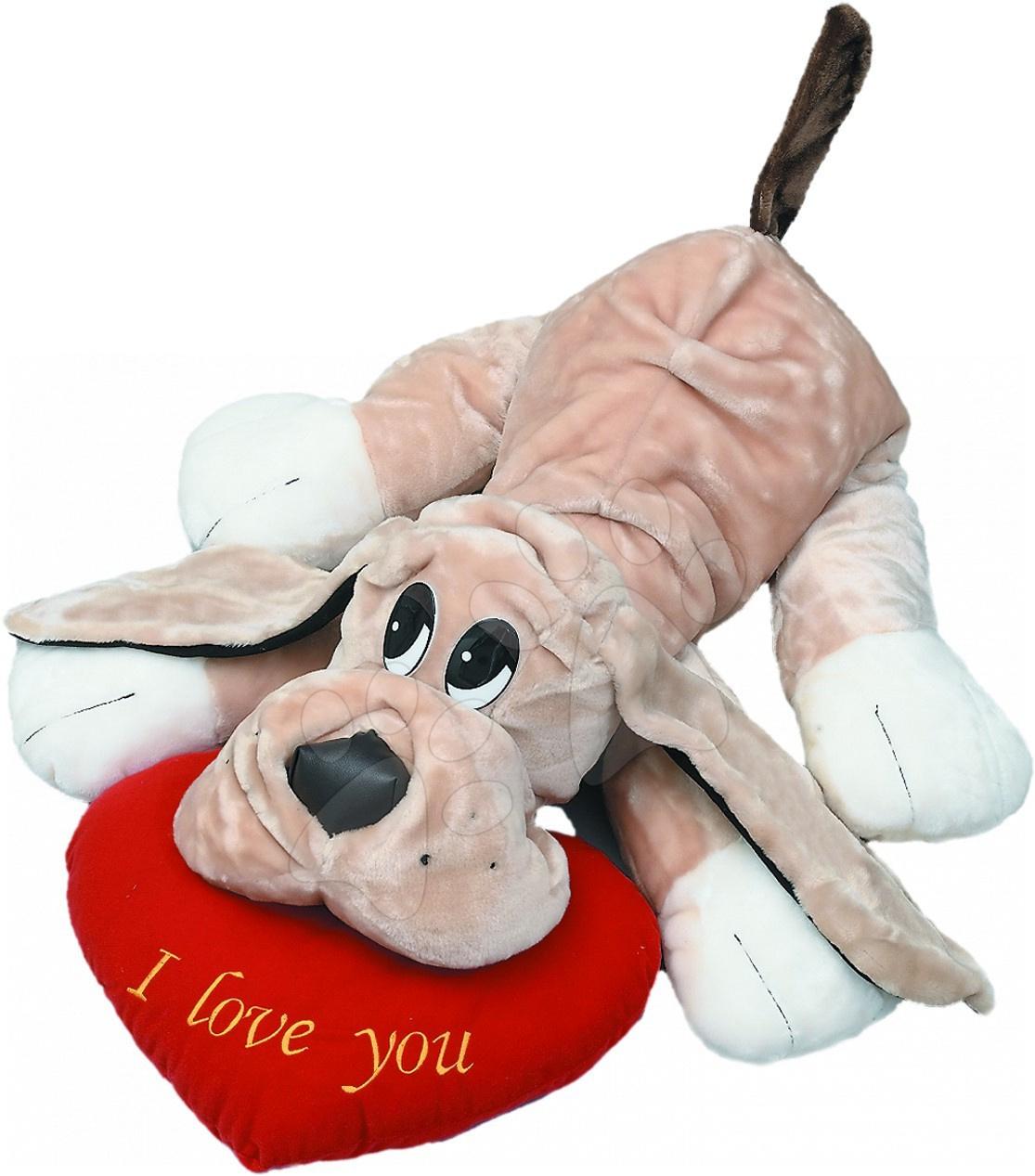 Plyšové postavičky - Plyšový pes so srdiečkom Ilanit 45 cm