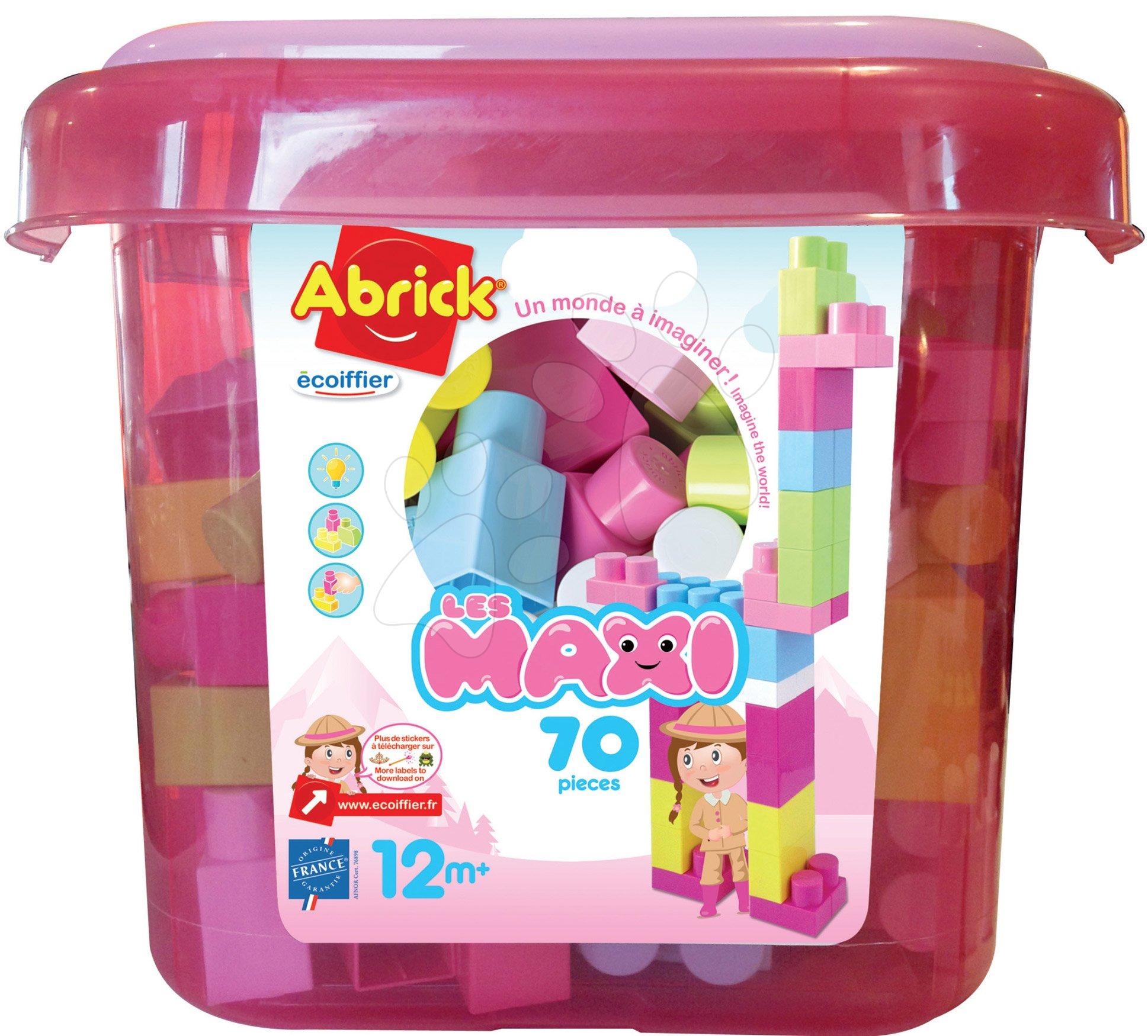 Stavebnice Les Maxi Abrick Pink Écoiffier v růžové dóze se 70 kostkami od 12 měsíců