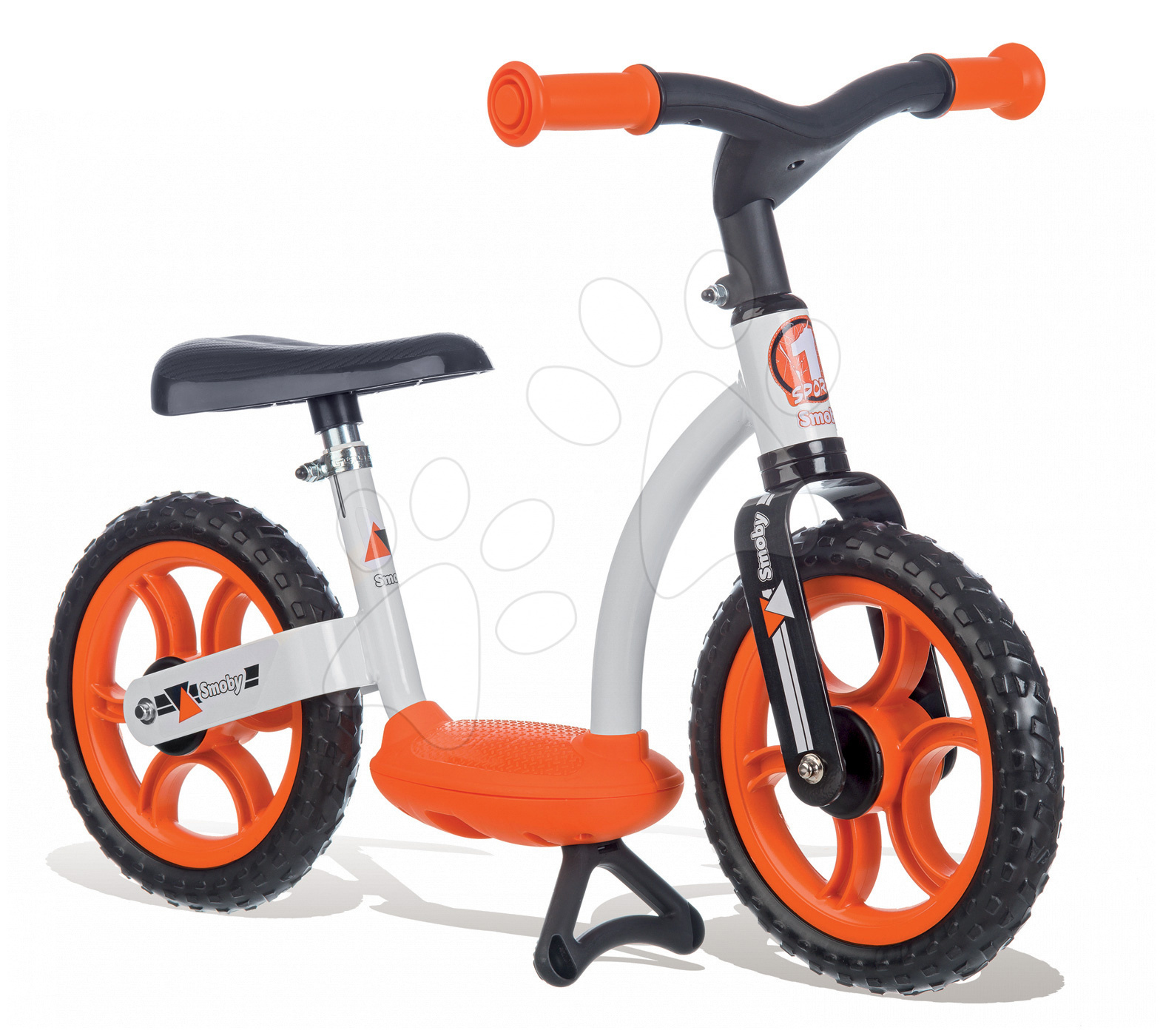 Balanční odrážedlo Learning Bike Smoby s nastavitelnou výškou sedáku černo-oranžové od 24 měsíců