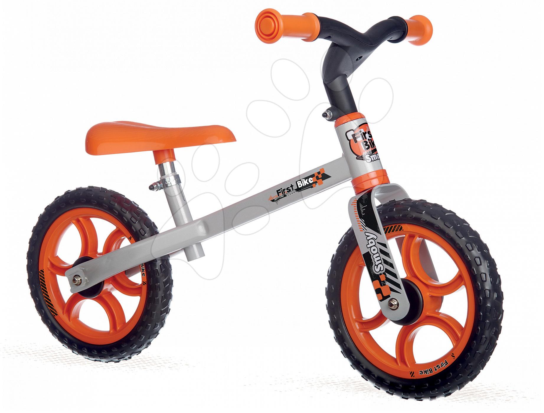 Balanční odrážedlo First Bike Smoby s nastavitelnou výškou sedáku oranžovo-černé od 18 měsíců
