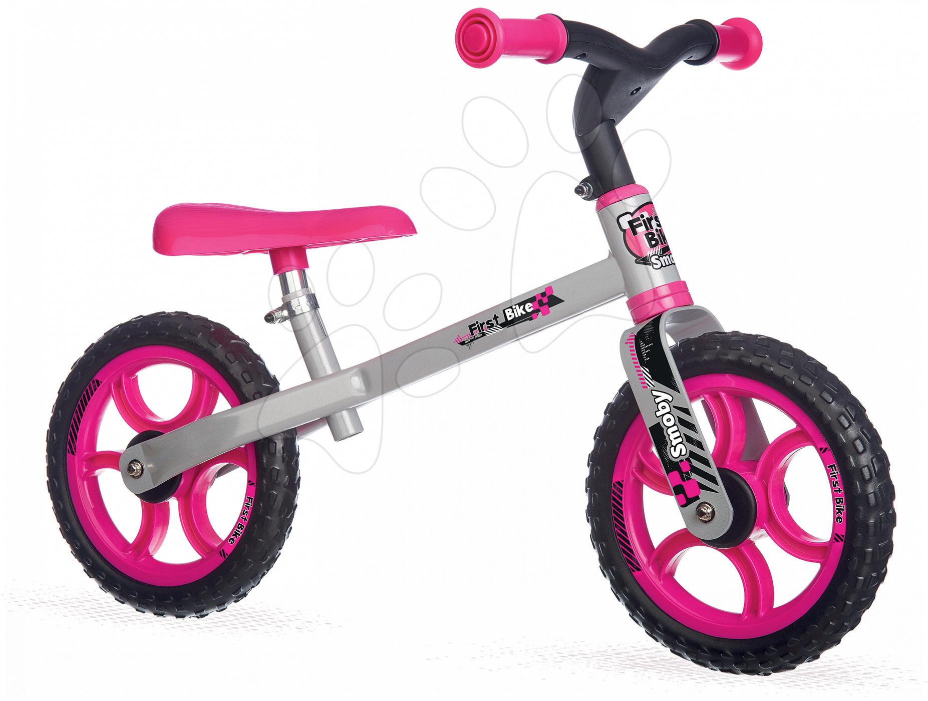 Balanční odrážedlo First Bike Smoby s nastavitelnou výškou sedáku růžovo-černé od 18 měsíců
