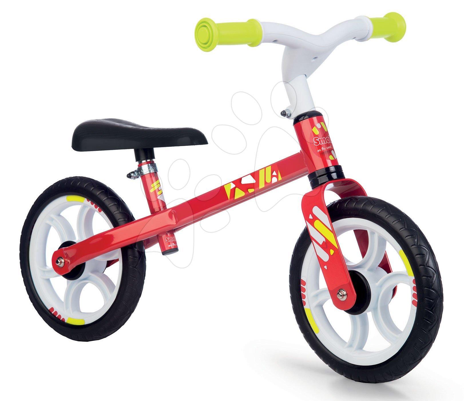 Bicicletă educativă First Bike Red Smoby cu structură metalică şi scaun reglabil de la 24 luni