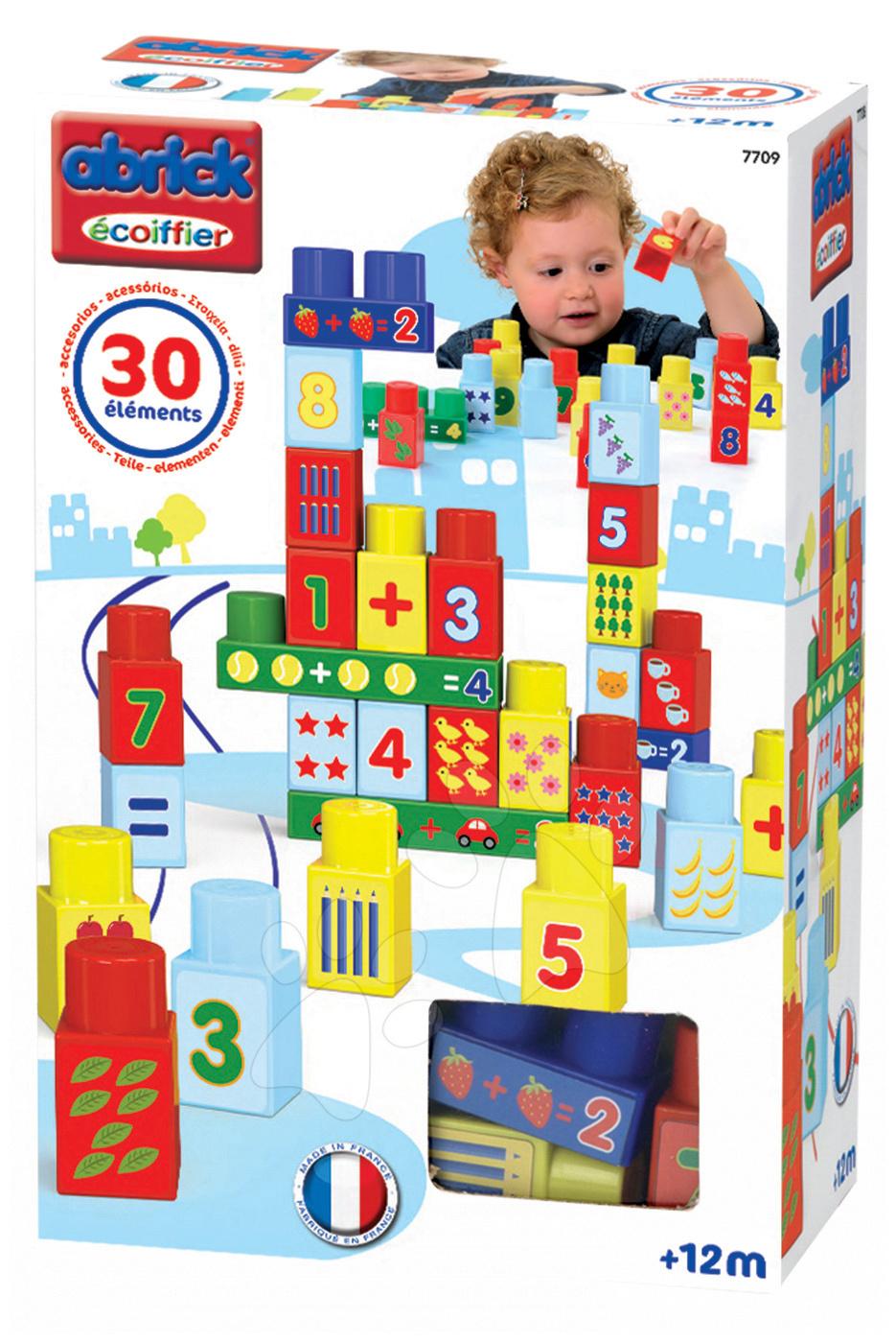 Stavebnice pre najmenších - Stavebnica Abrick Maxi Čísla Écoiffier 30 dielov od 12 mes