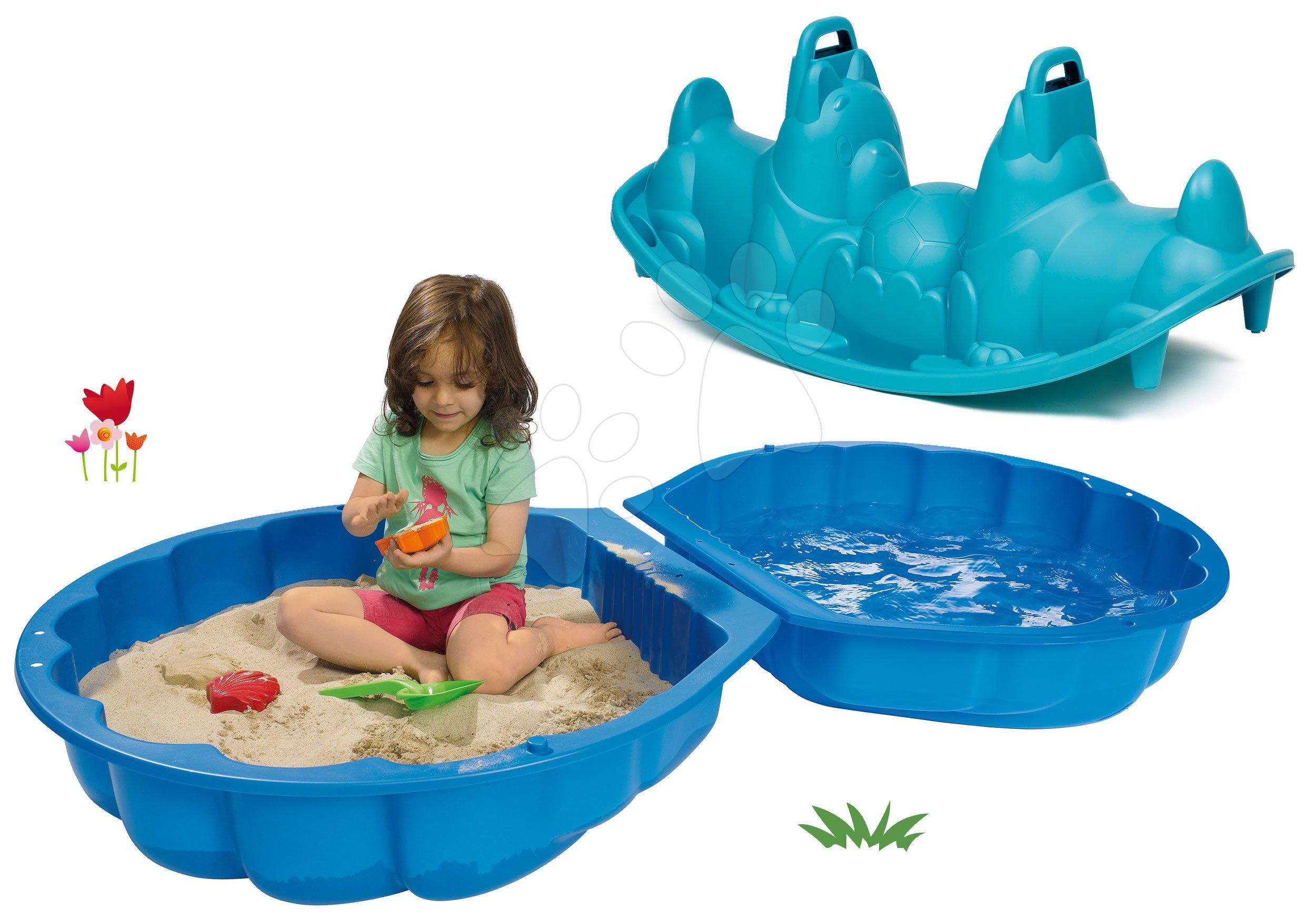 Set pískoviště mušle dvoudílné Watershell Blue BIG modré a houpačka pes oboustranná