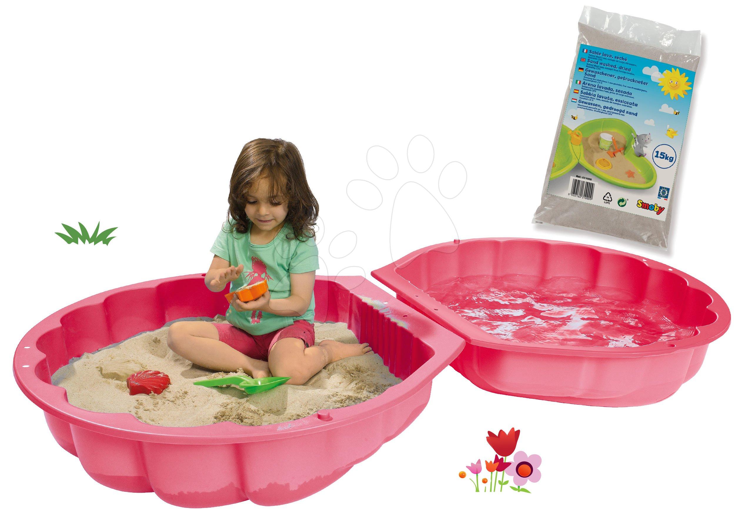Set pieskovisko mušľa dvojdielne Watershell Pink BIG ružové a hygienický piesok pre najmenších 15 kg