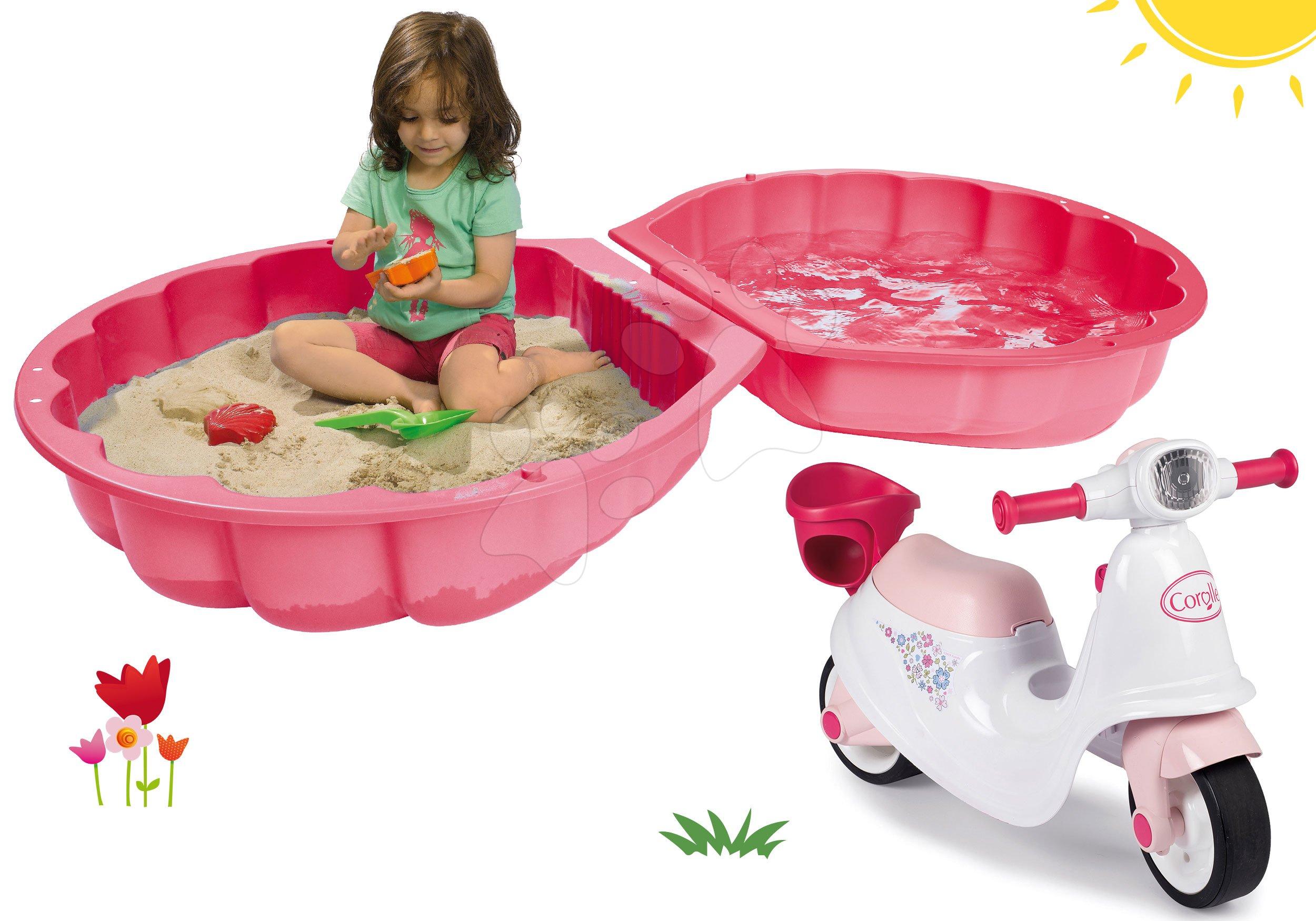 Set pískoviště mušle dvoudílné Watershell Pink BIG růžové a odrážedlo motorka Corolle s nosítko pro panenku