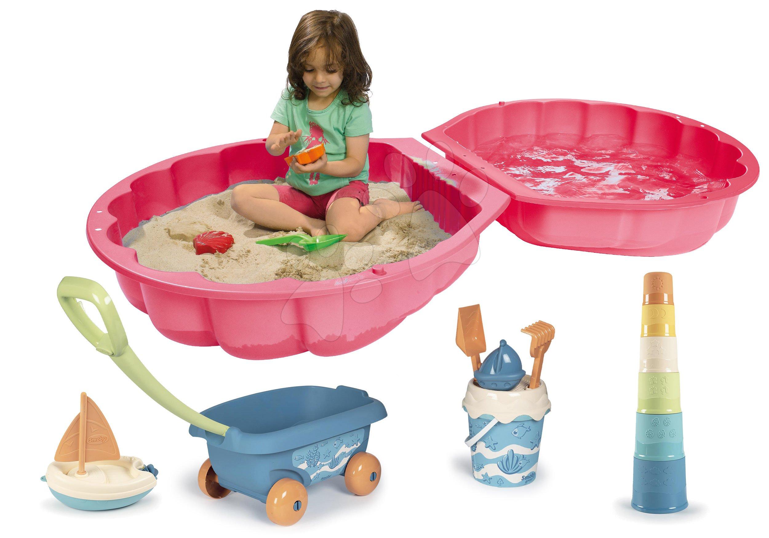 Set pískoviště mušle dvoudílné Watershell Pink BIG růžové a vozík na tahání z cukrové třtiny Bio Sugar Cane s bábovičkami