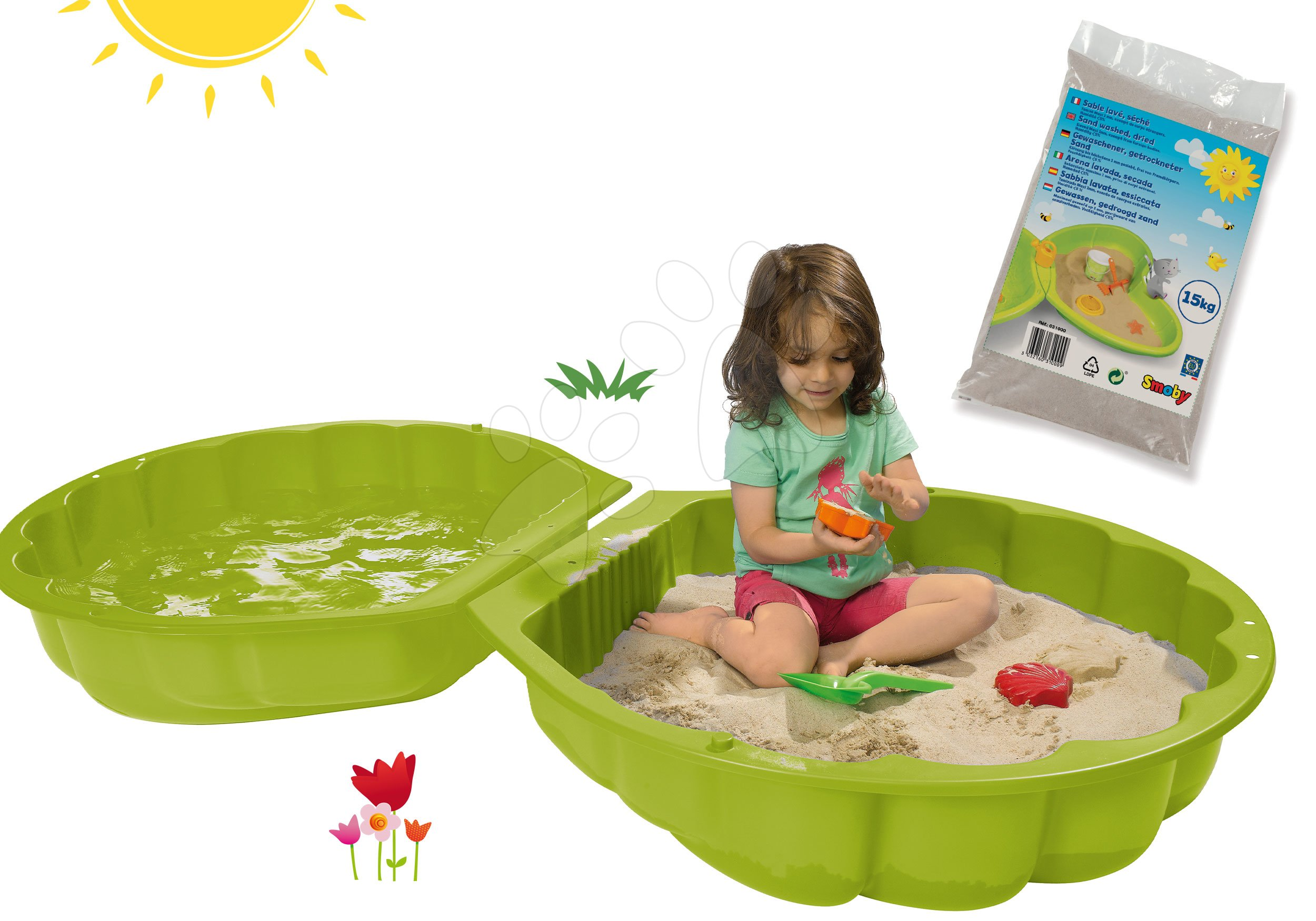 Set pieskovisko mušľa dvojdielne Watershell Green BIG zelené a hygienický piesok pre najmenších 15 kg